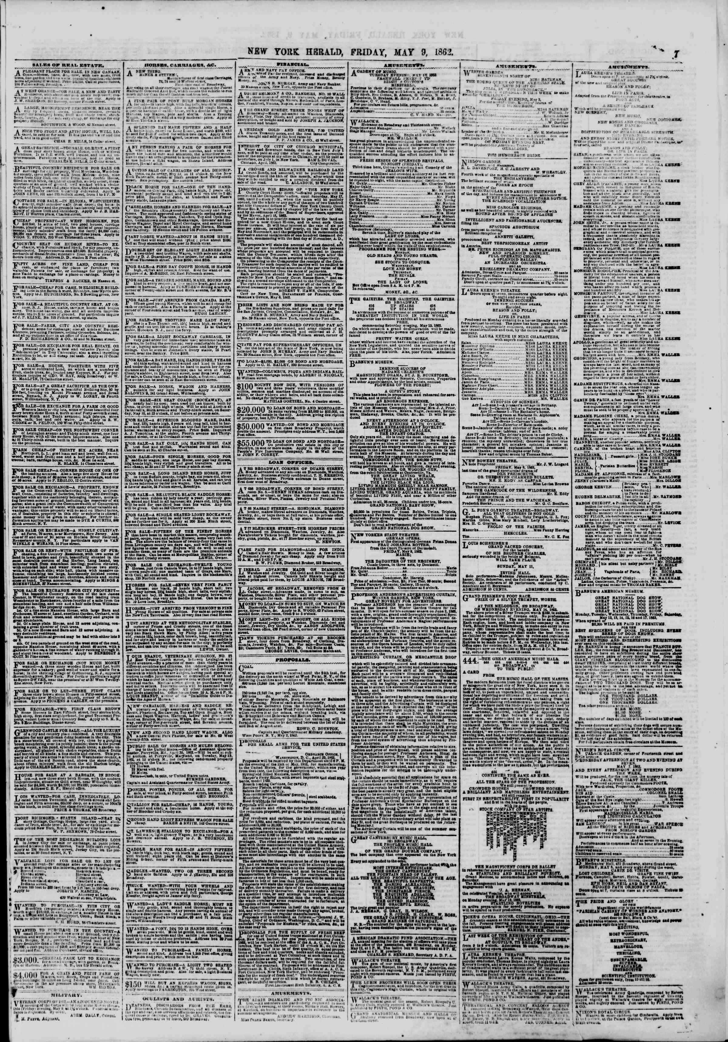 Newspaper of The New York Herald dated May 9, 1862 Page 7