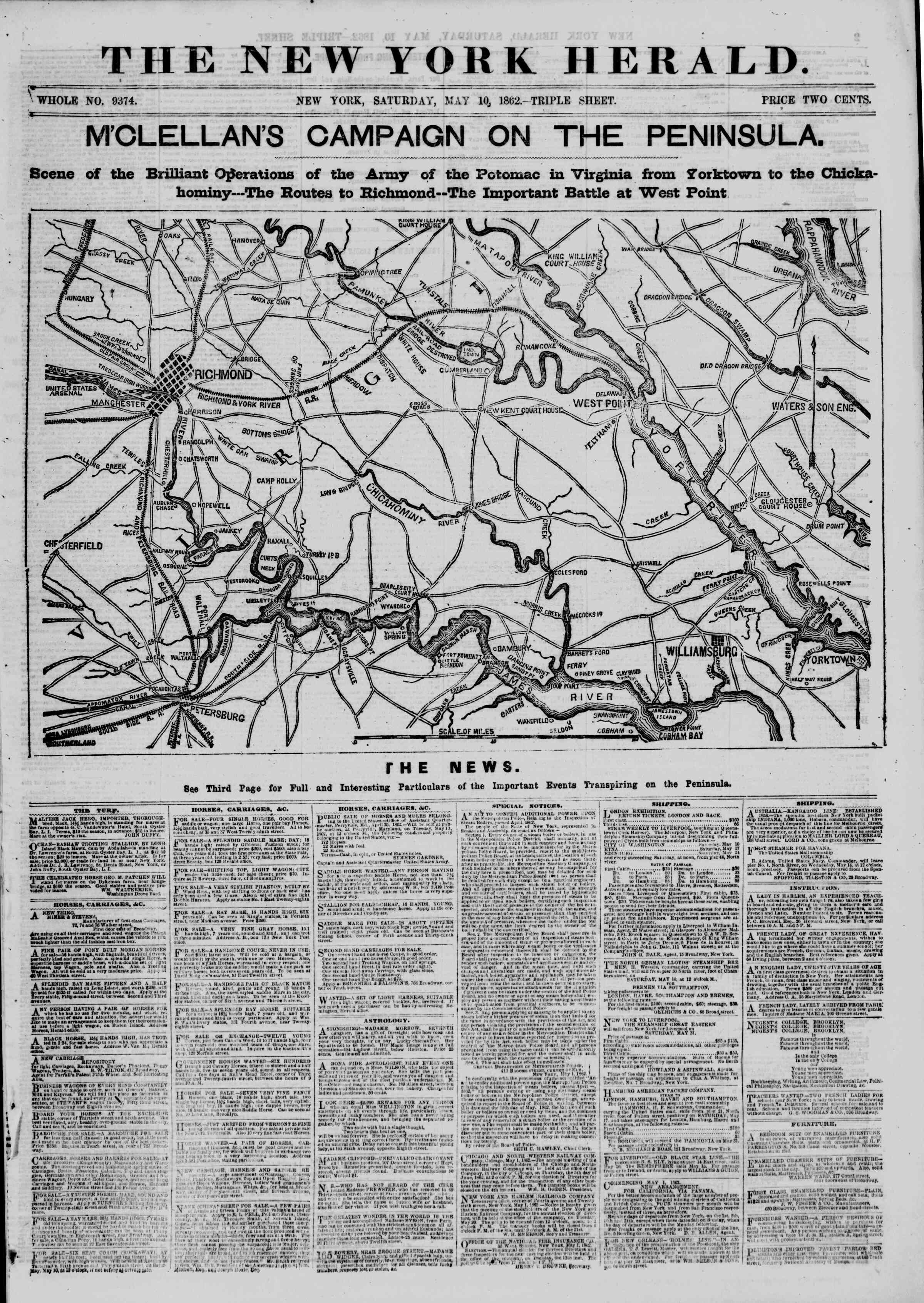 Newspaper of The New York Herald dated May 10, 1862 Page 1