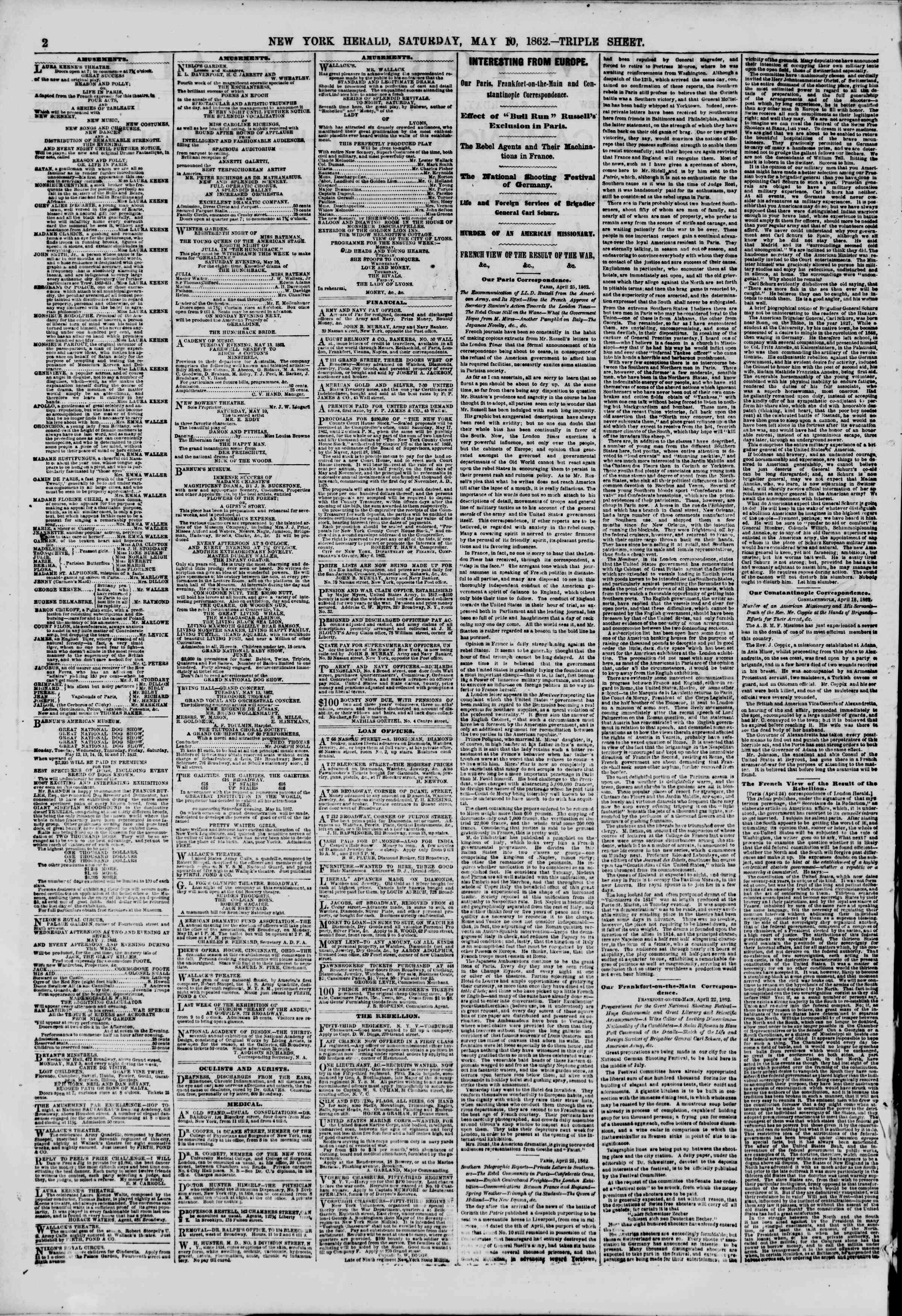 Newspaper of The New York Herald dated May 10, 1862 Page 2