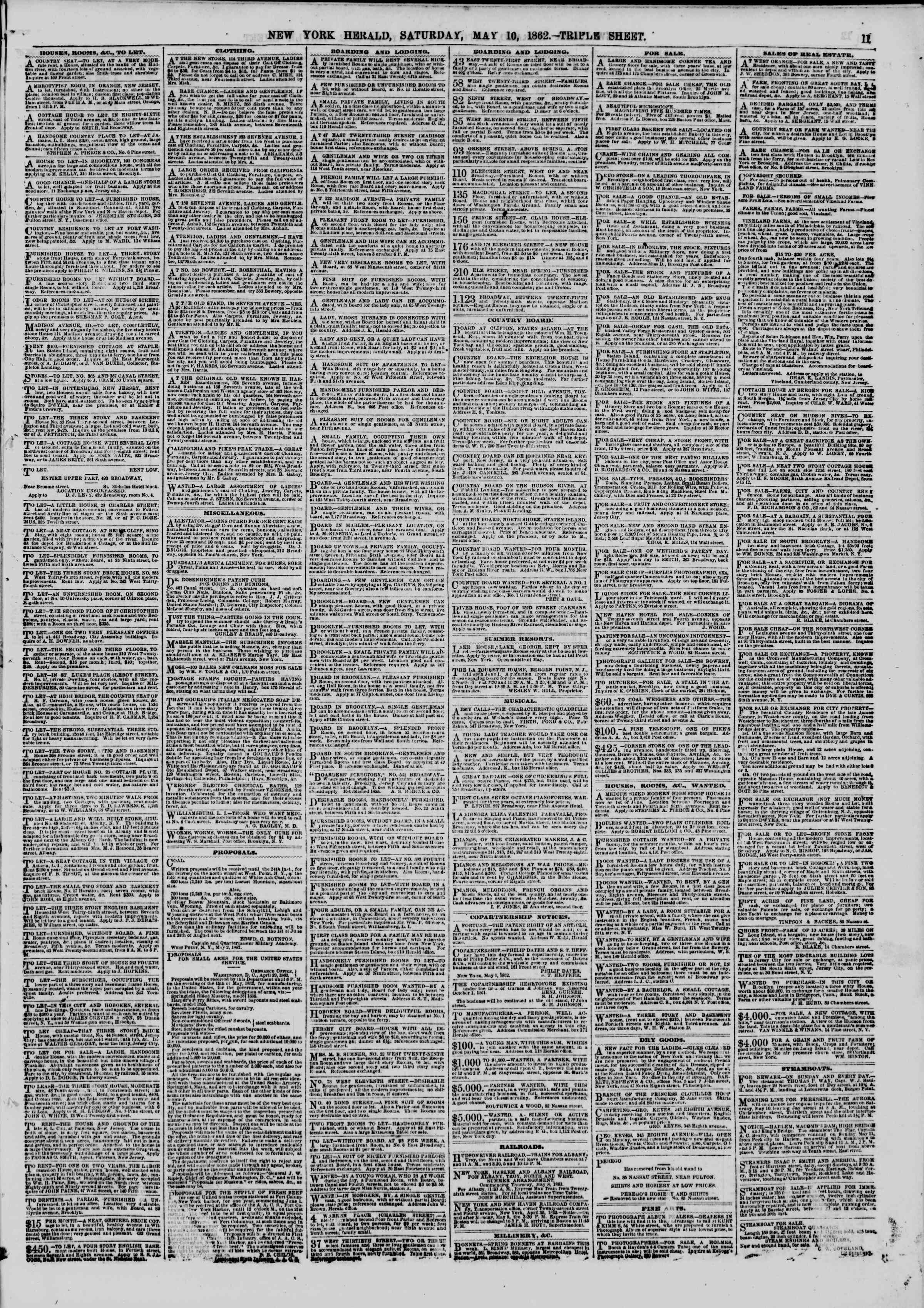 Newspaper of The New York Herald dated May 10, 1862 Page 11