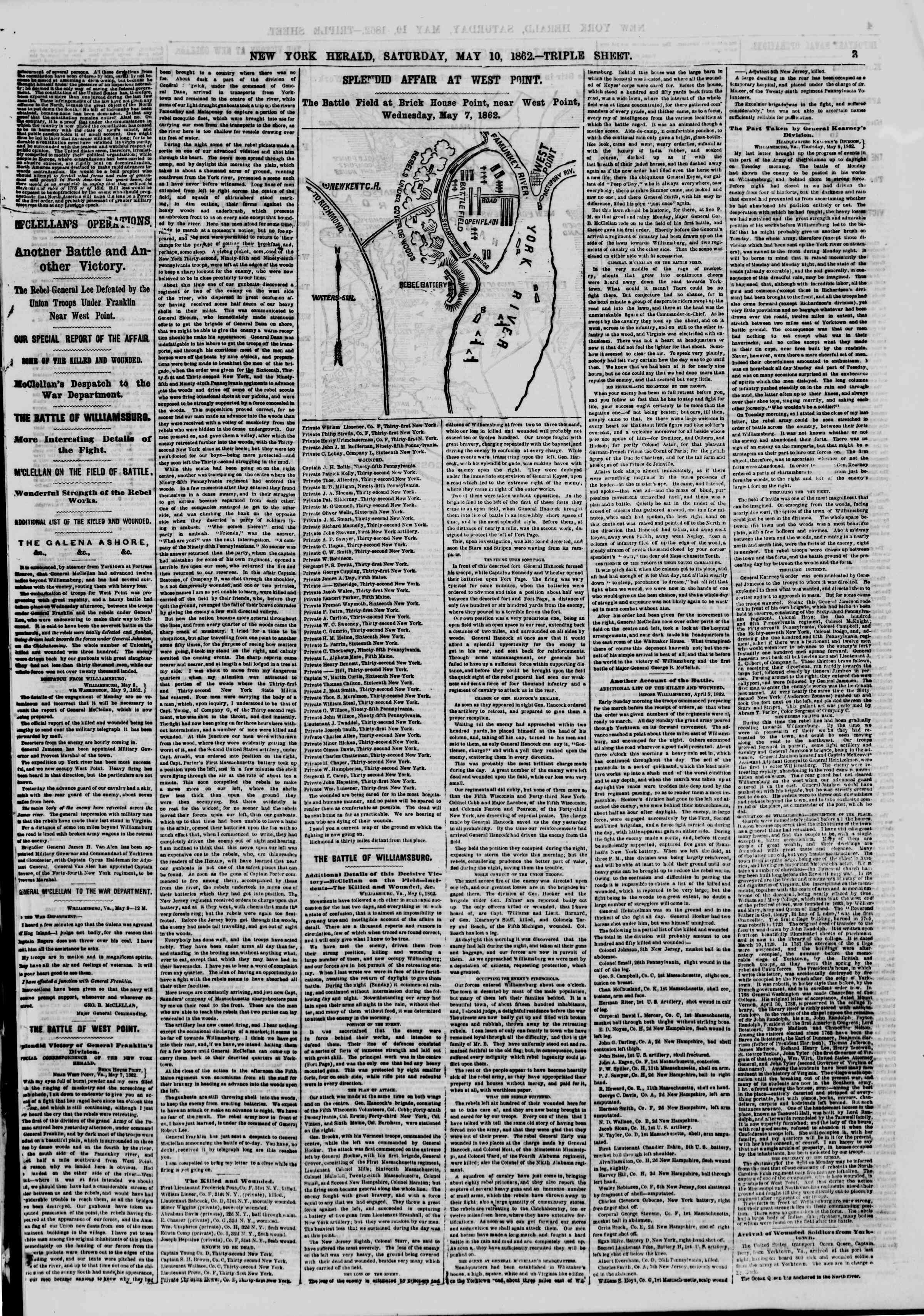 Newspaper of The New York Herald dated May 10, 1862 Page 3