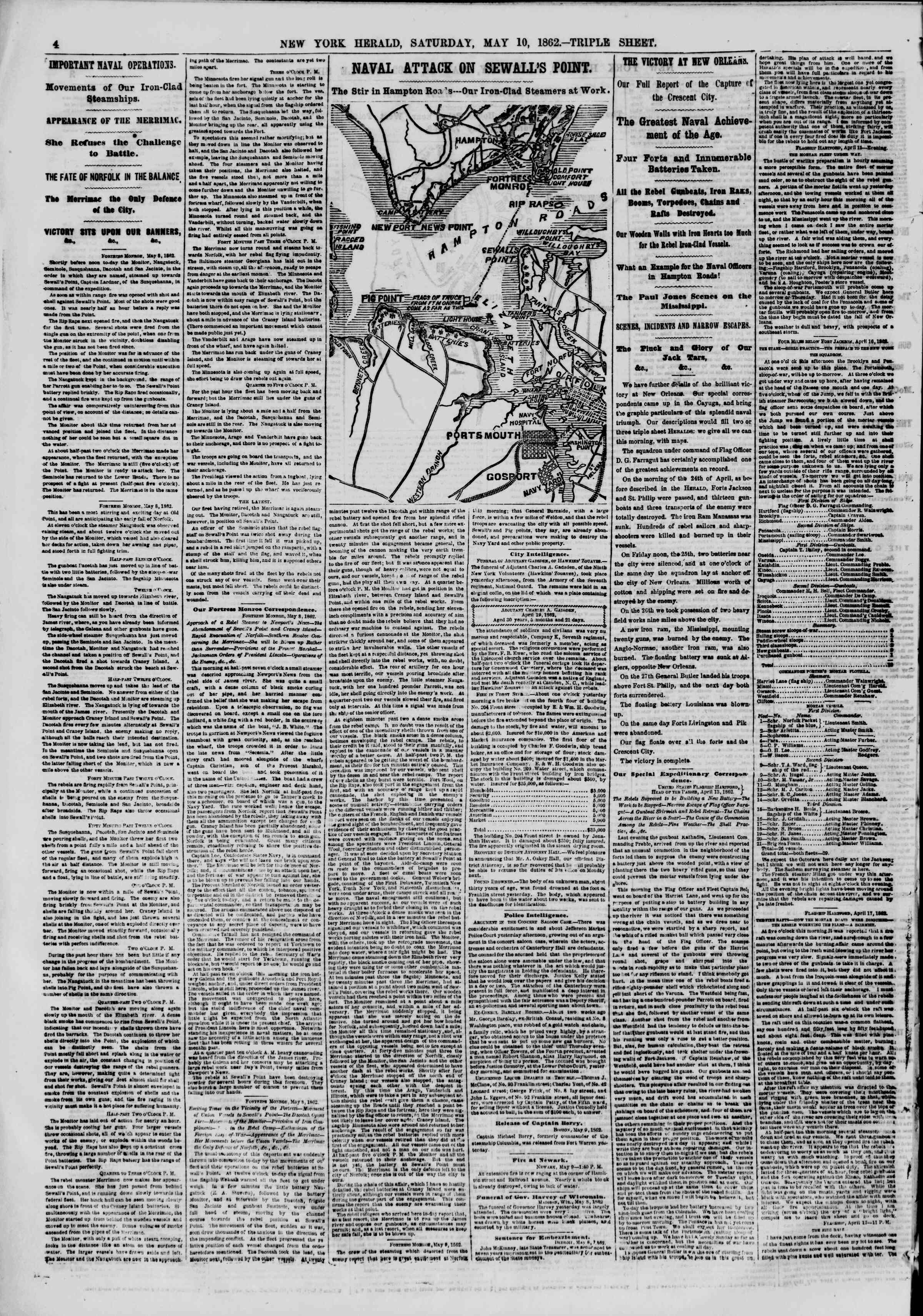 Newspaper of The New York Herald dated May 10, 1862 Page 4