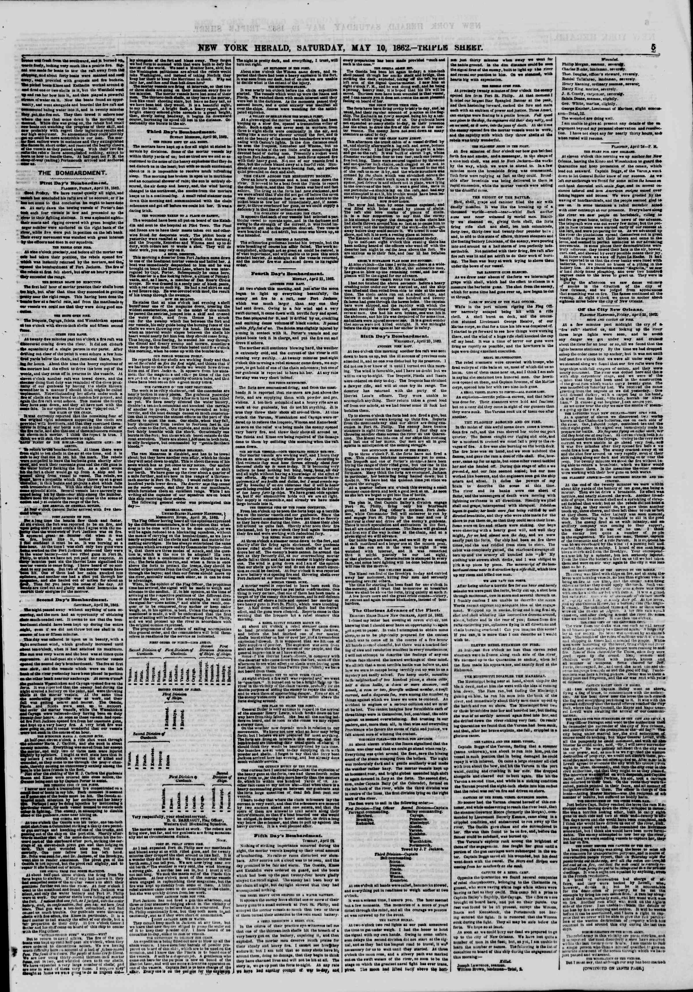 Newspaper of The New York Herald dated May 10, 1862 Page 5