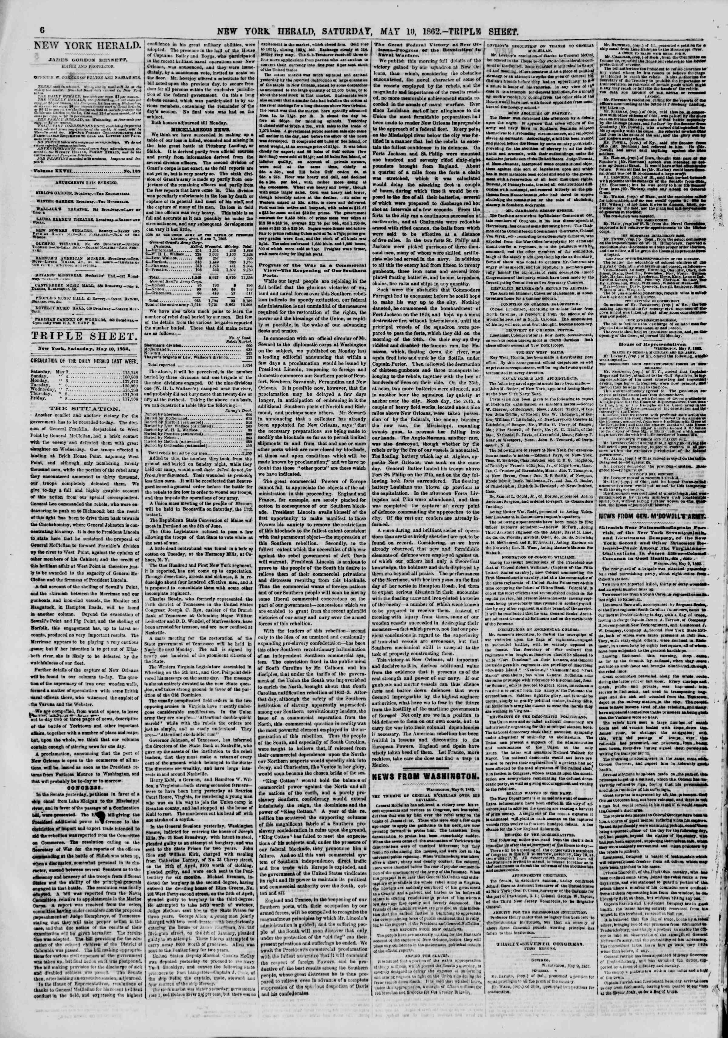 Newspaper of The New York Herald dated May 10, 1862 Page 6