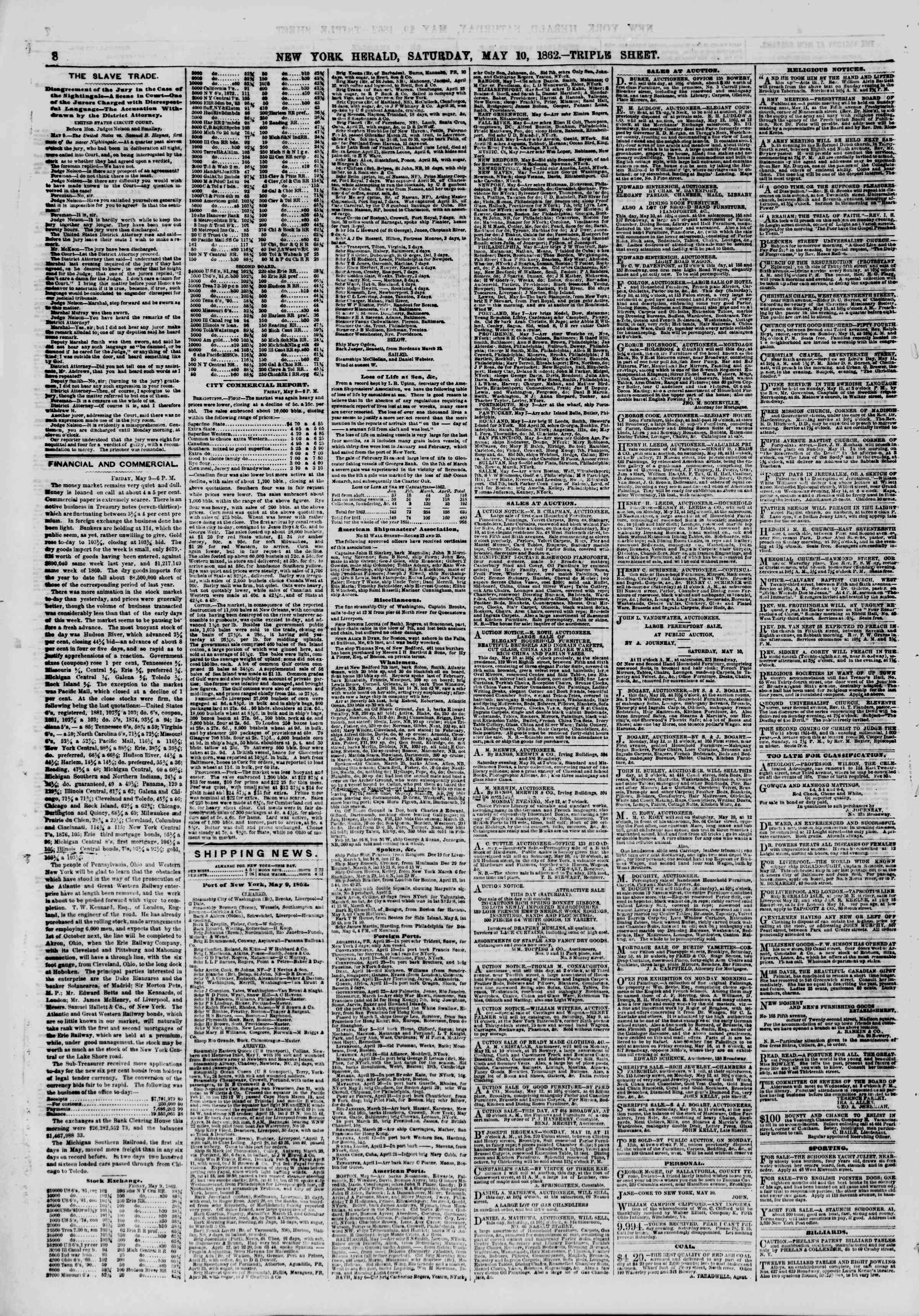 Newspaper of The New York Herald dated May 10, 1862 Page 8