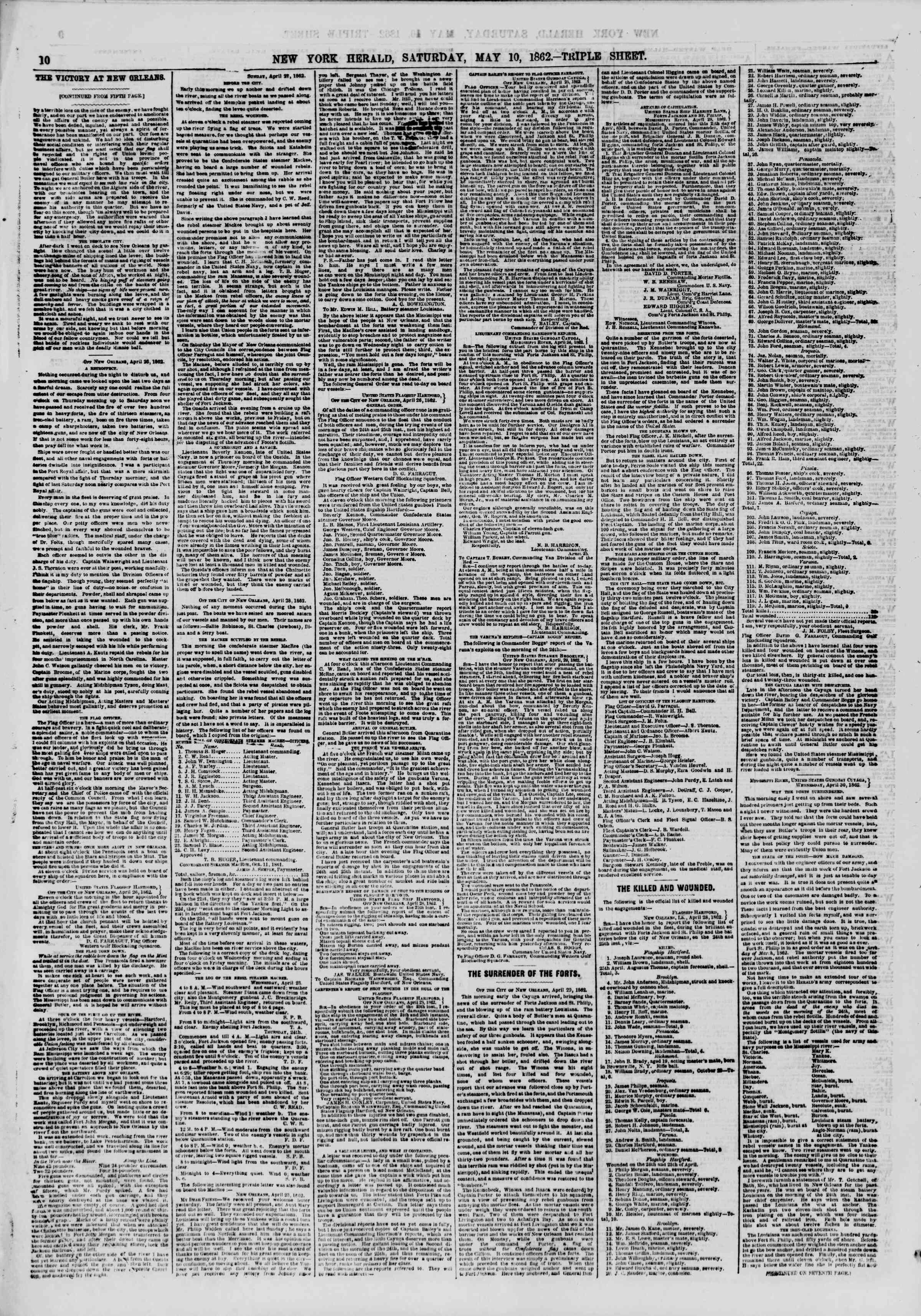 Newspaper of The New York Herald dated May 10, 1862 Page 10