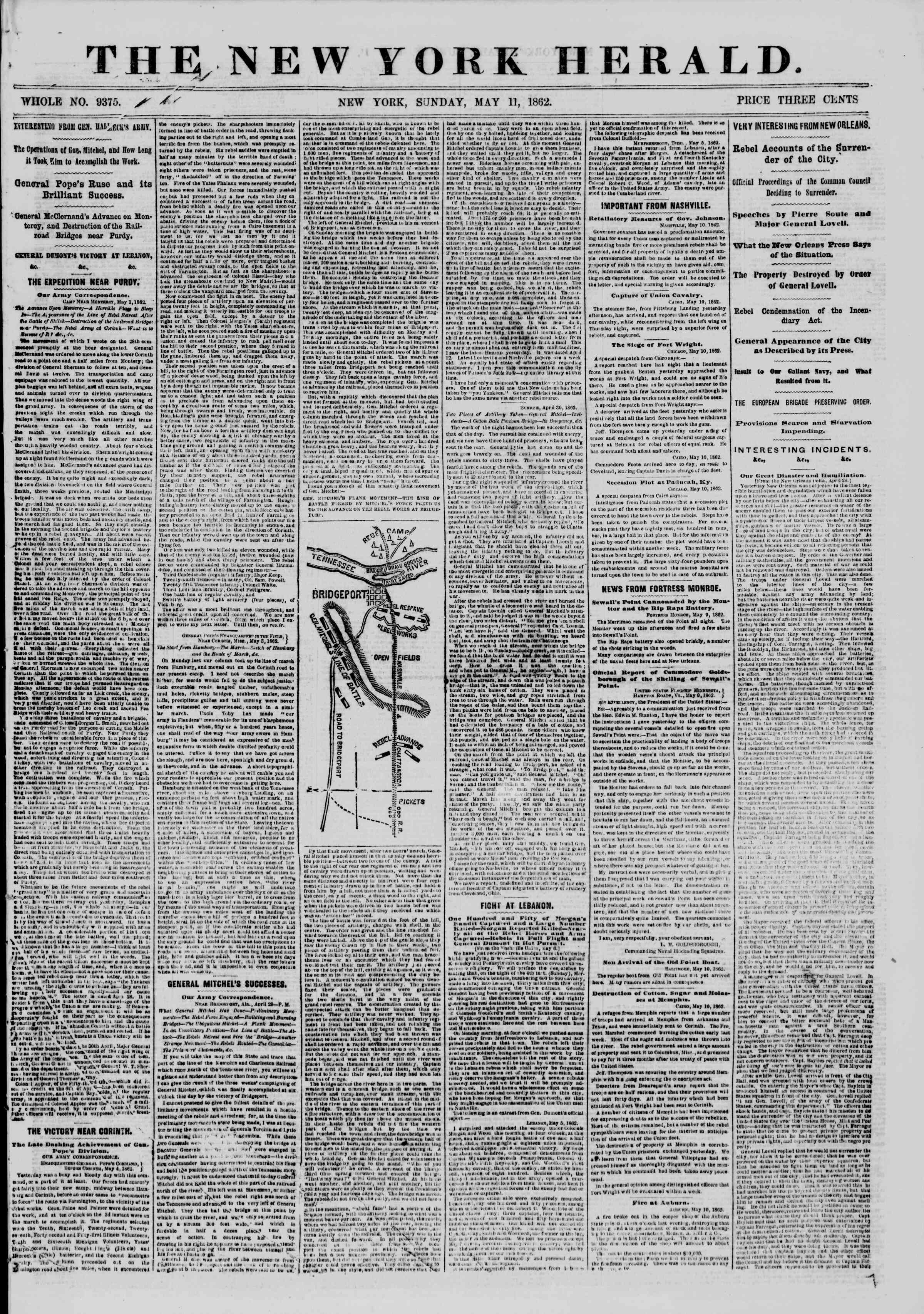 Newspaper of The New York Herald dated May 11, 1862 Page 1