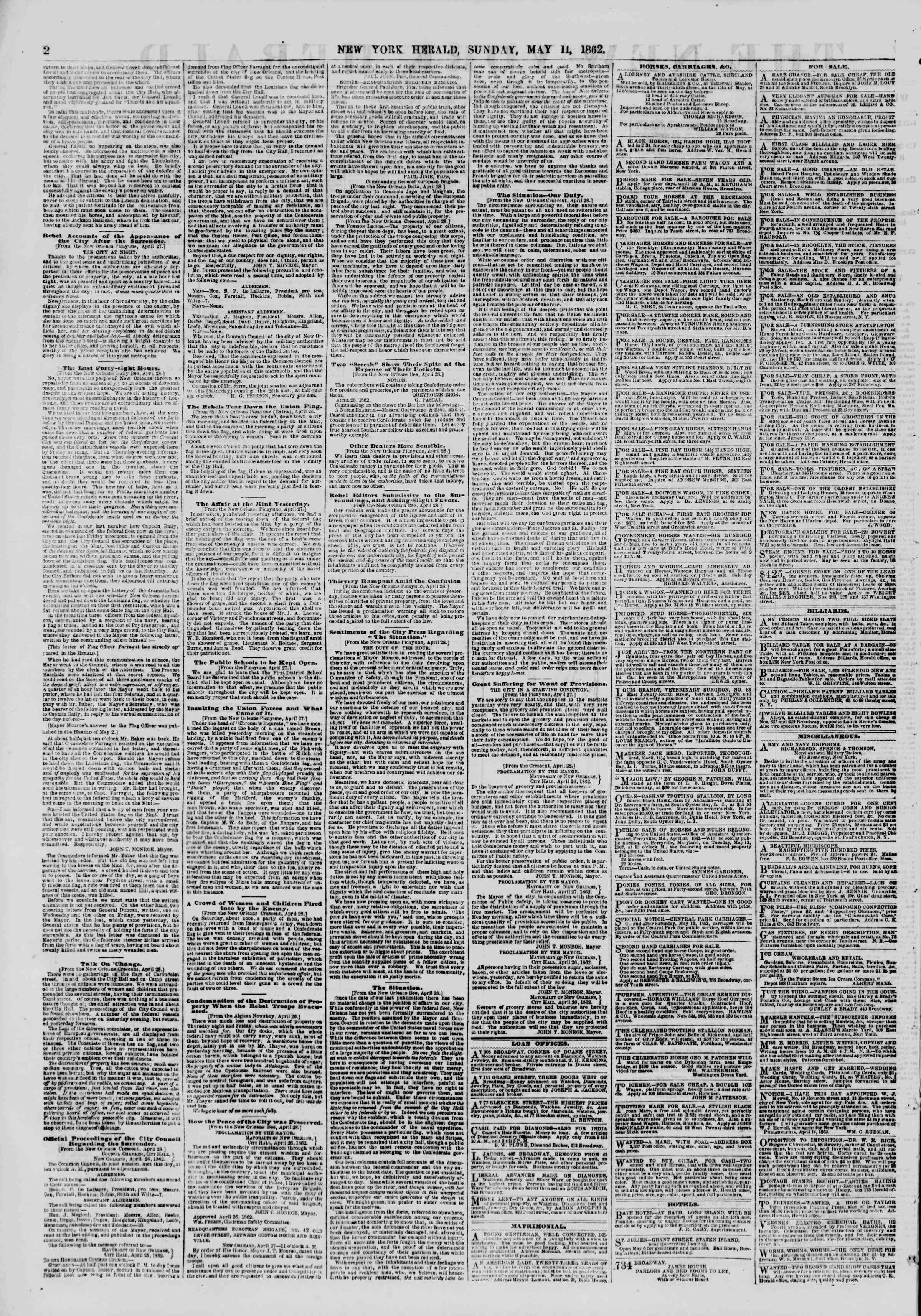 Newspaper of The New York Herald dated May 11, 1862 Page 2