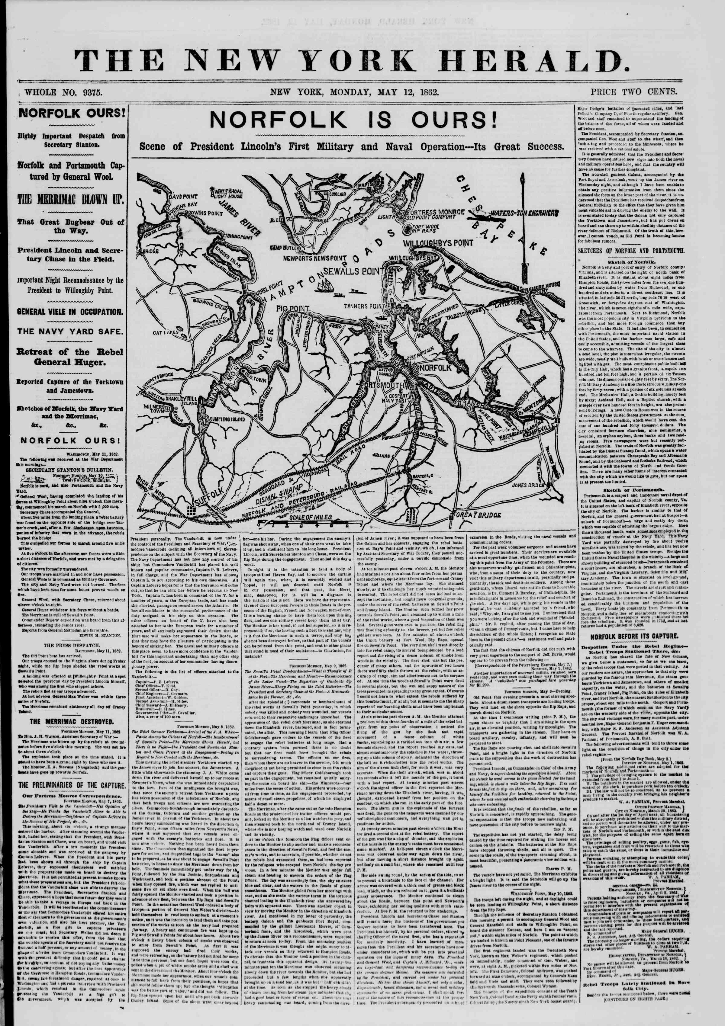 Newspaper of The New York Herald dated May 12, 1862 Page 1