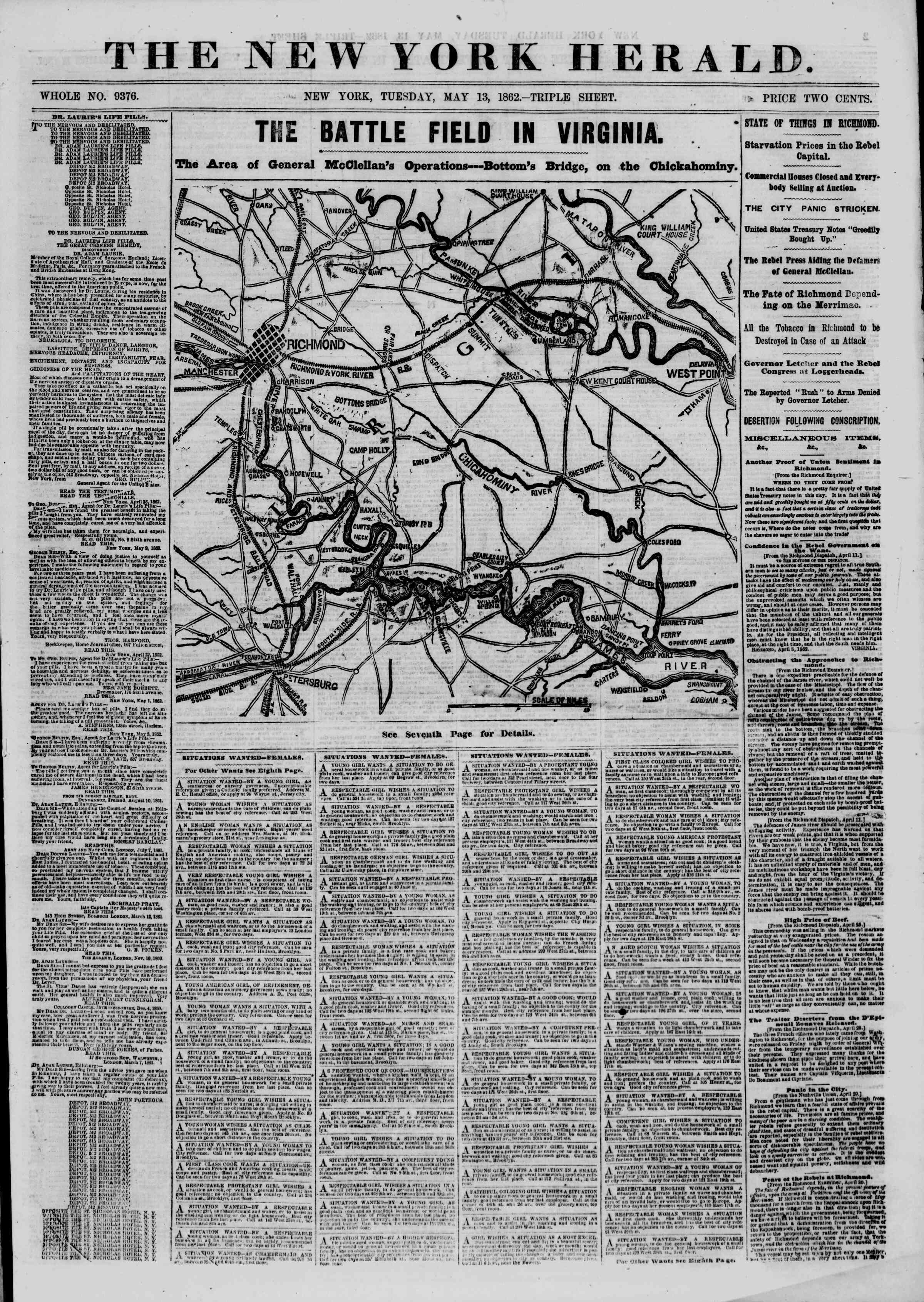 Newspaper of The New York Herald dated May 13, 1862 Page 1