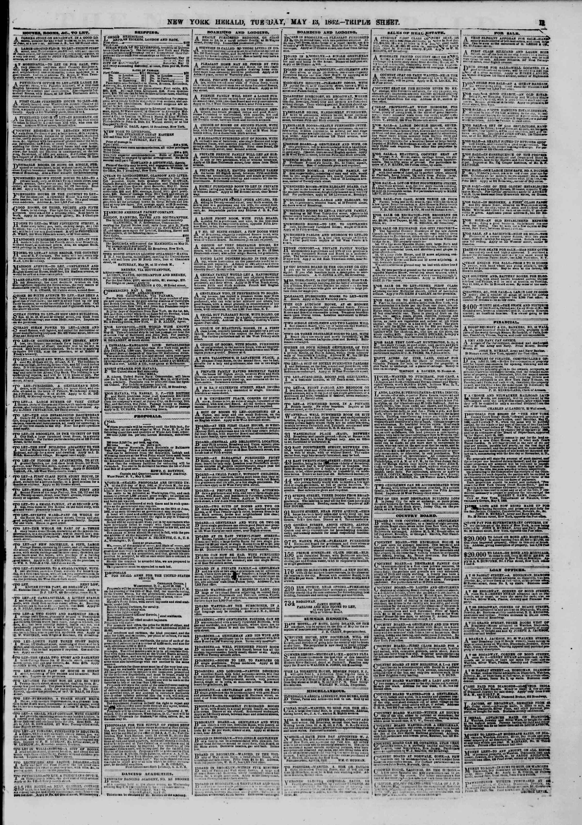 Newspaper of The New York Herald dated May 13, 1862 Page 11