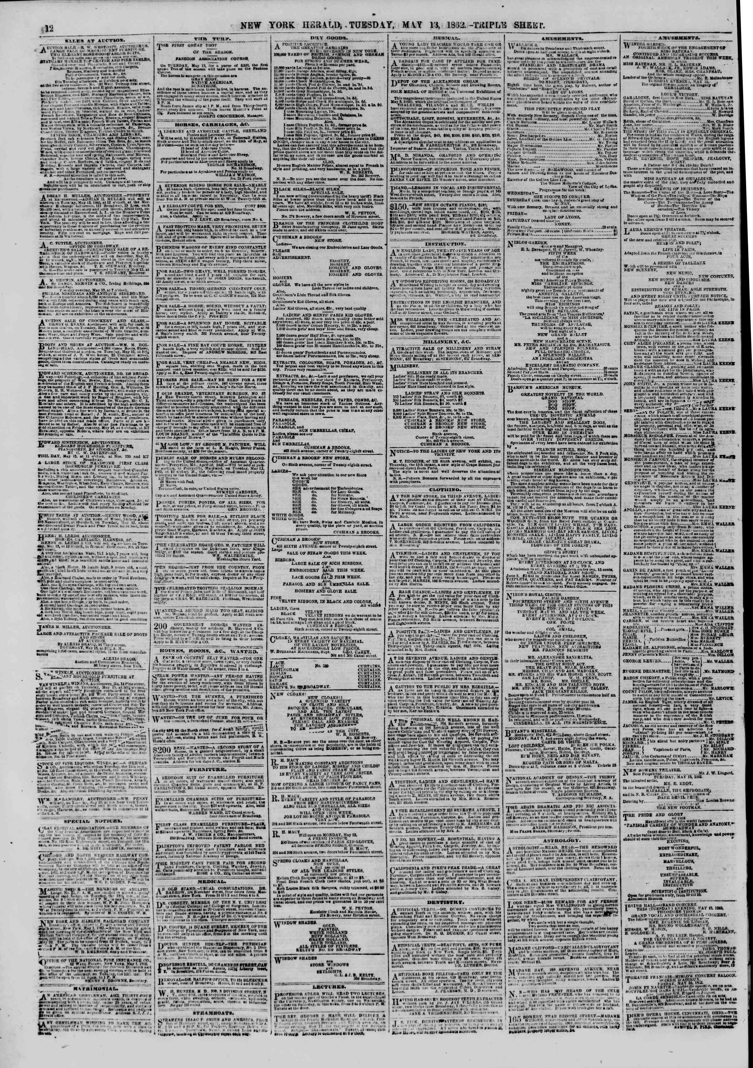 Newspaper of The New York Herald dated May 13, 1862 Page 12