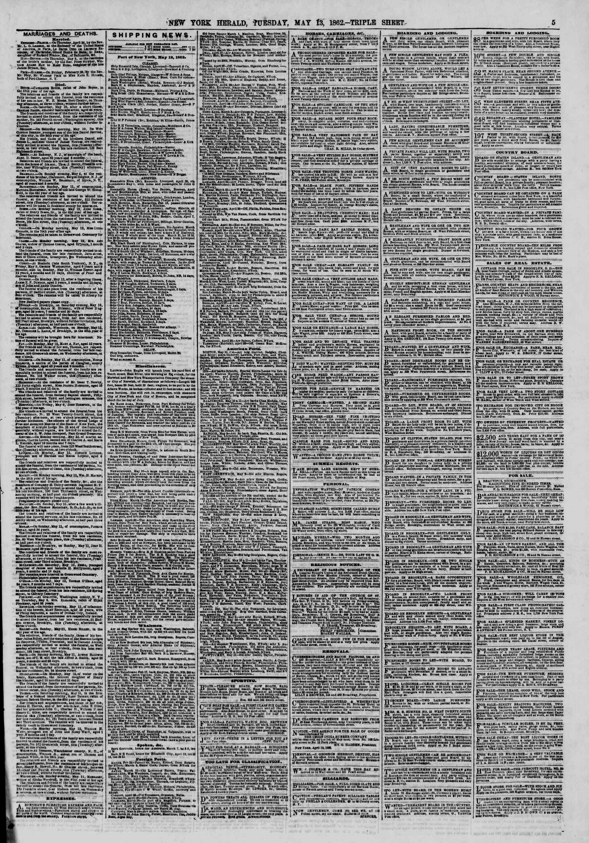 Newspaper of The New York Herald dated May 13, 1862 Page 5