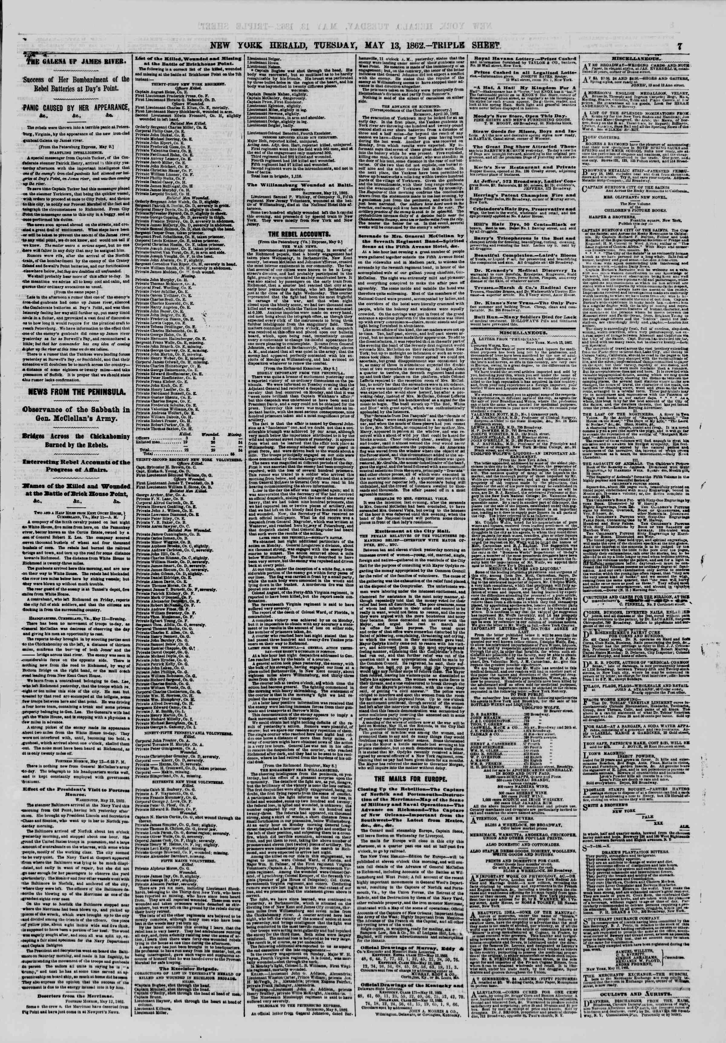 Newspaper of The New York Herald dated May 13, 1862 Page 7
