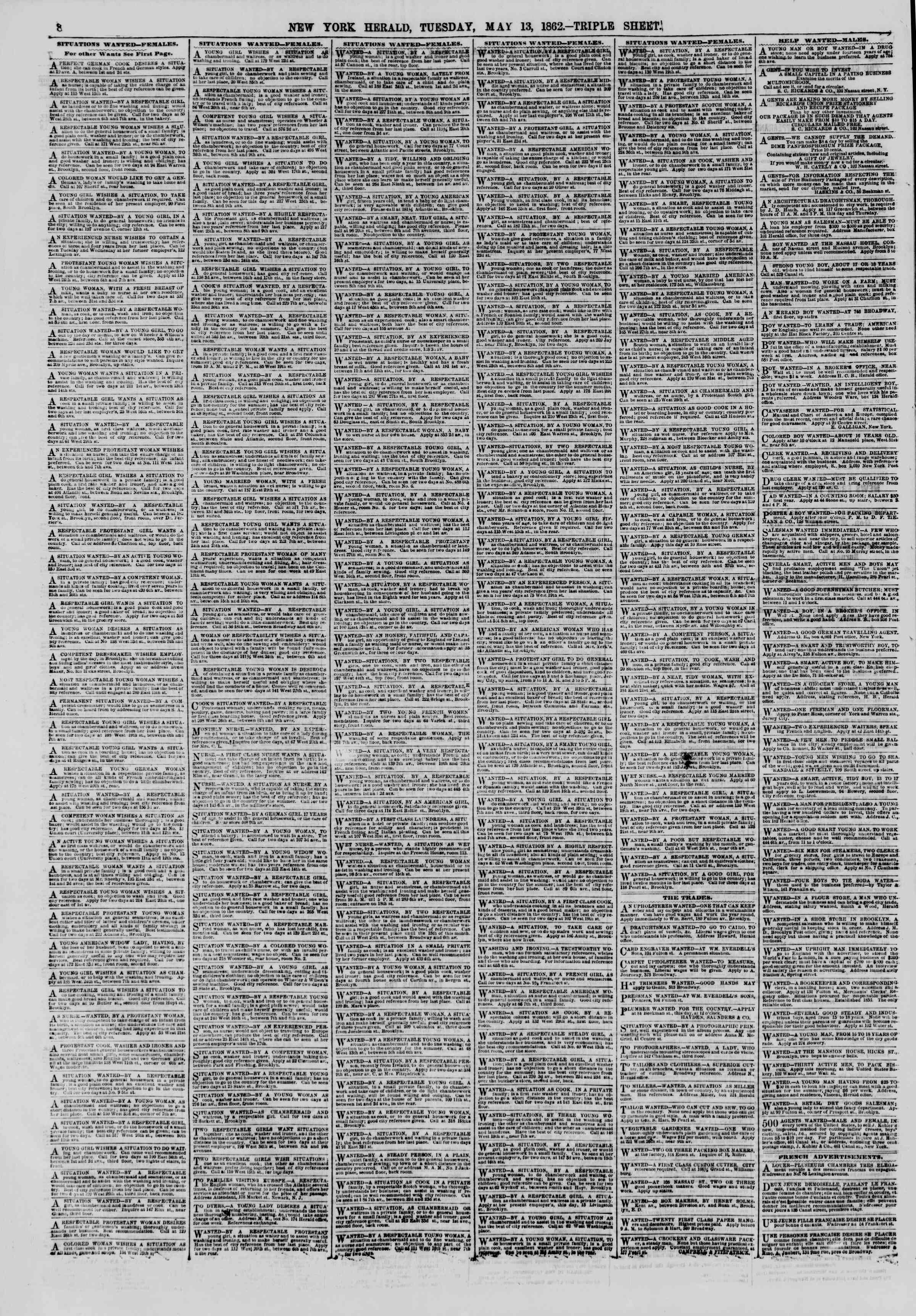 Newspaper of The New York Herald dated May 13, 1862 Page 8