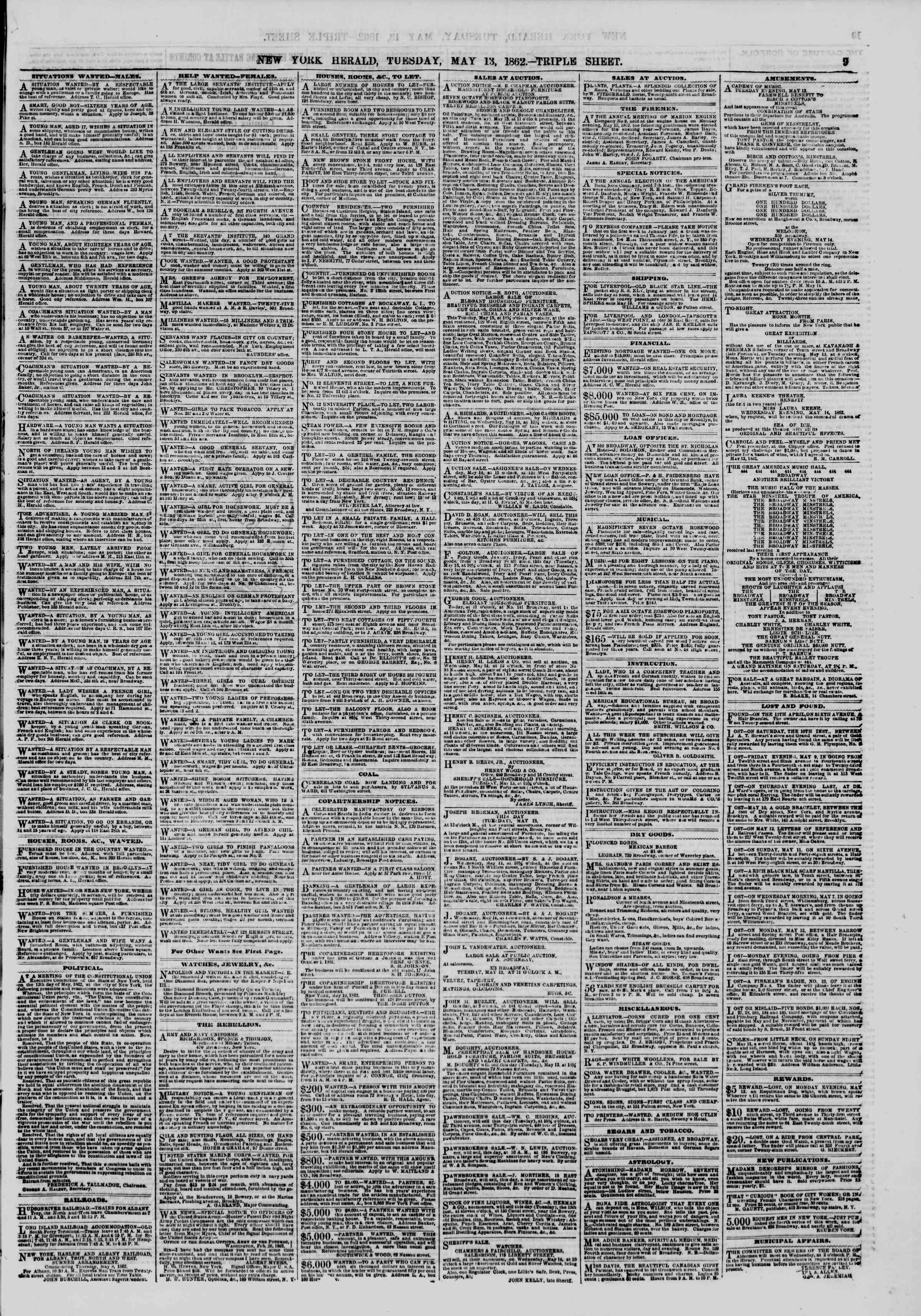 Newspaper of The New York Herald dated May 13, 1862 Page 9