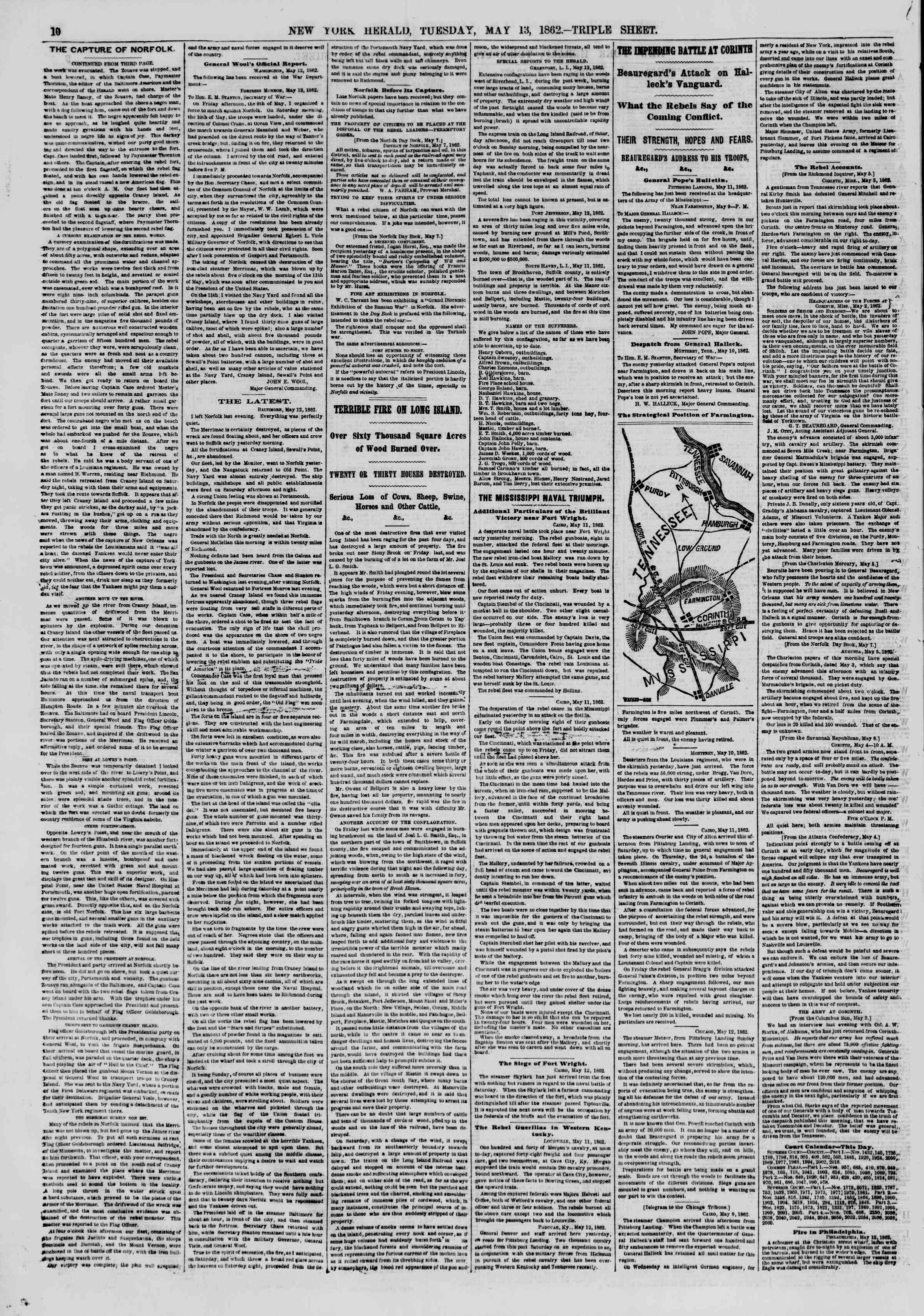 Newspaper of The New York Herald dated May 13, 1862 Page 10