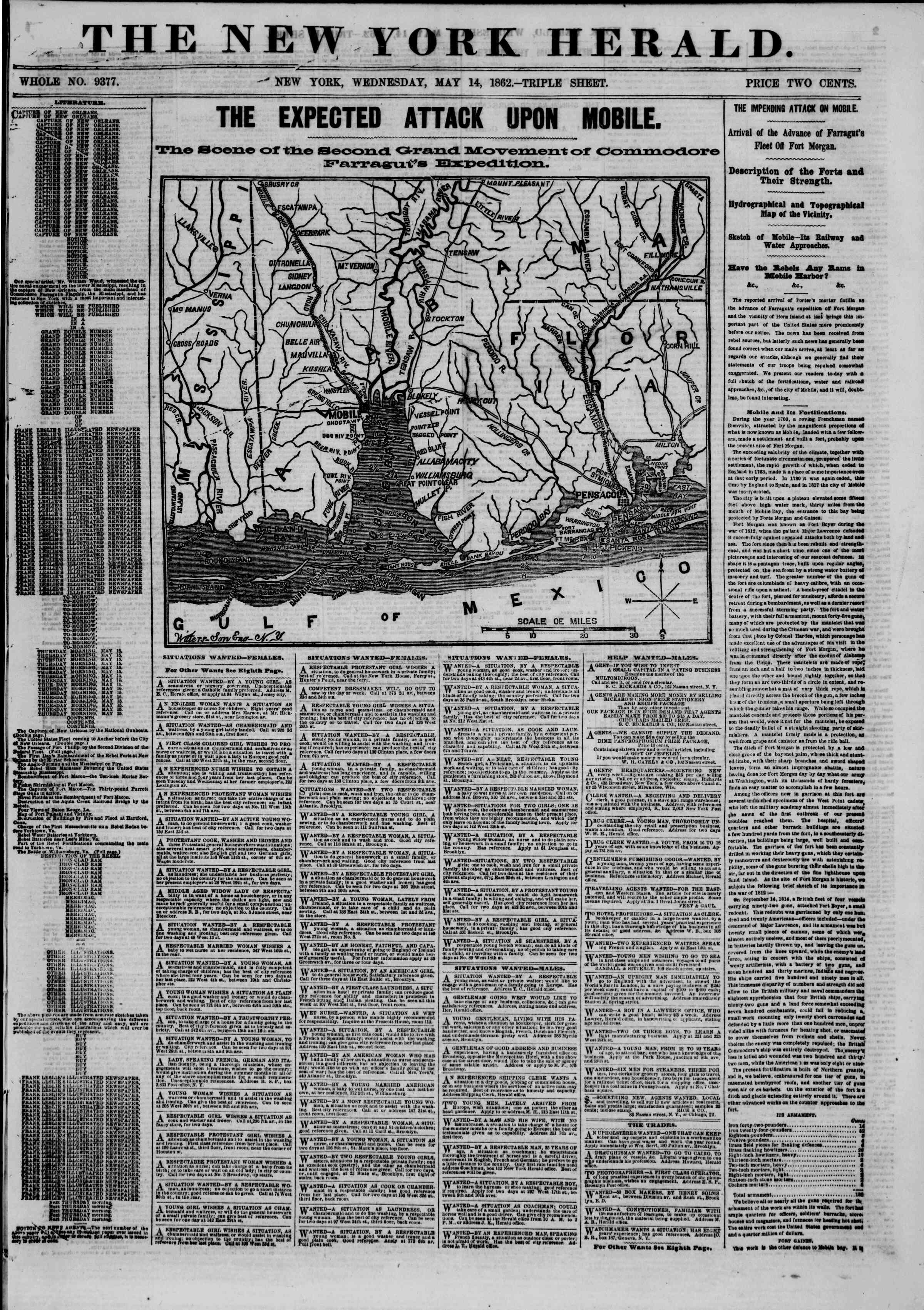 Newspaper of The New York Herald dated May 14, 1862 Page 1