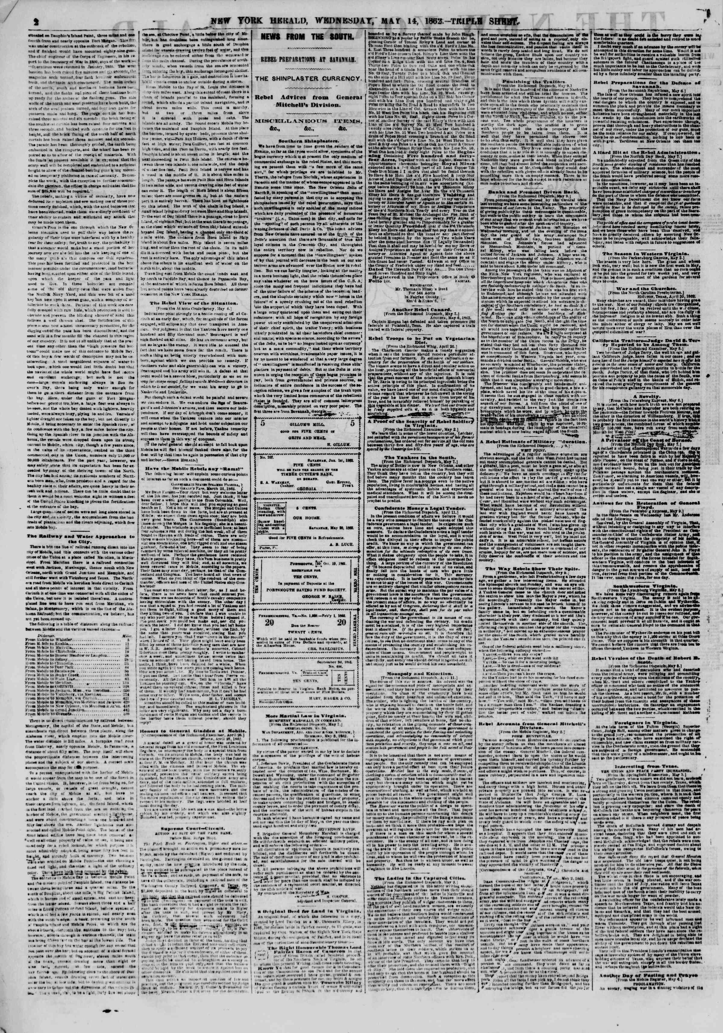 Newspaper of The New York Herald dated May 14, 1862 Page 2