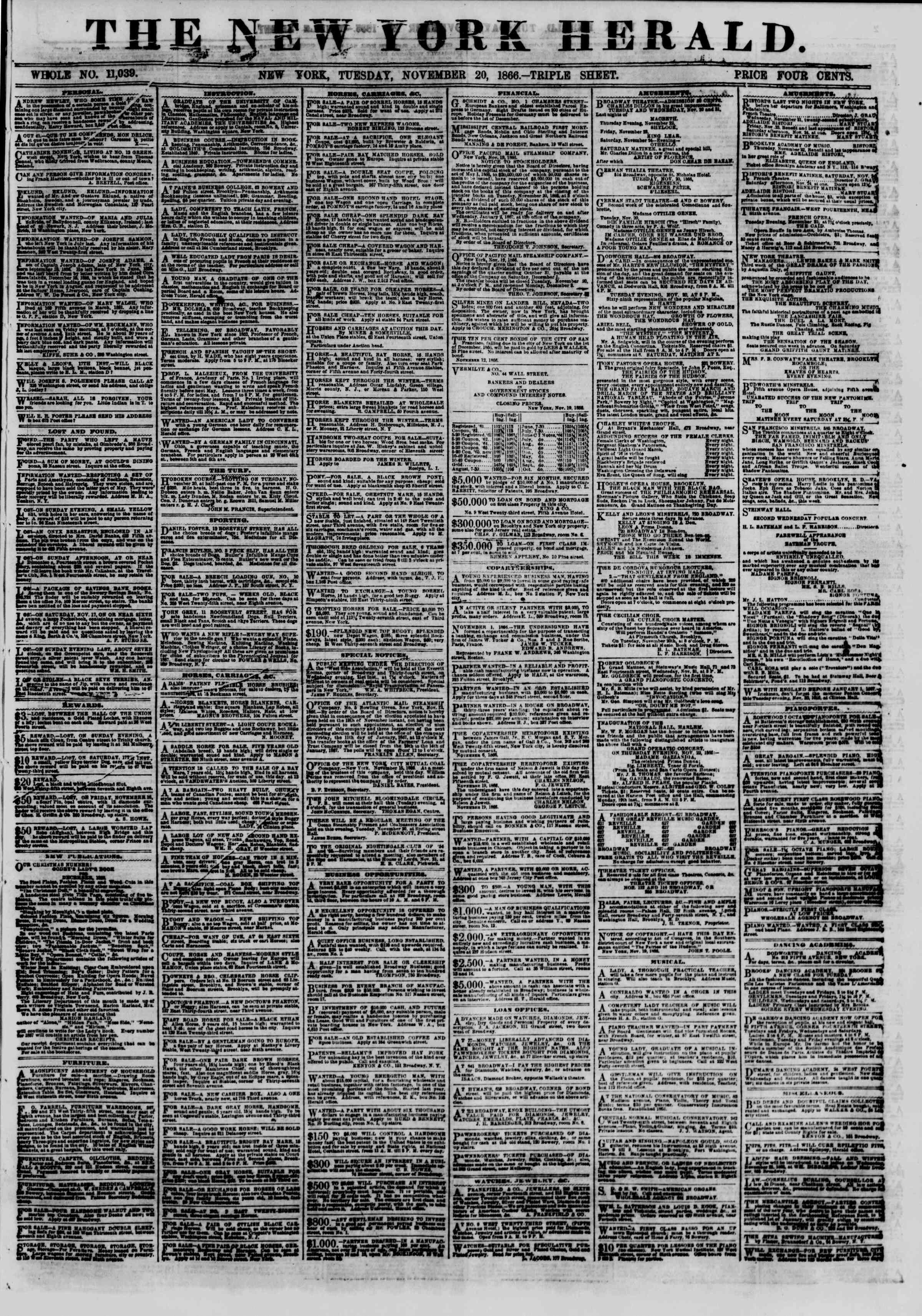 Newspaper of The New York Herald dated November 20, 1866 Page 1