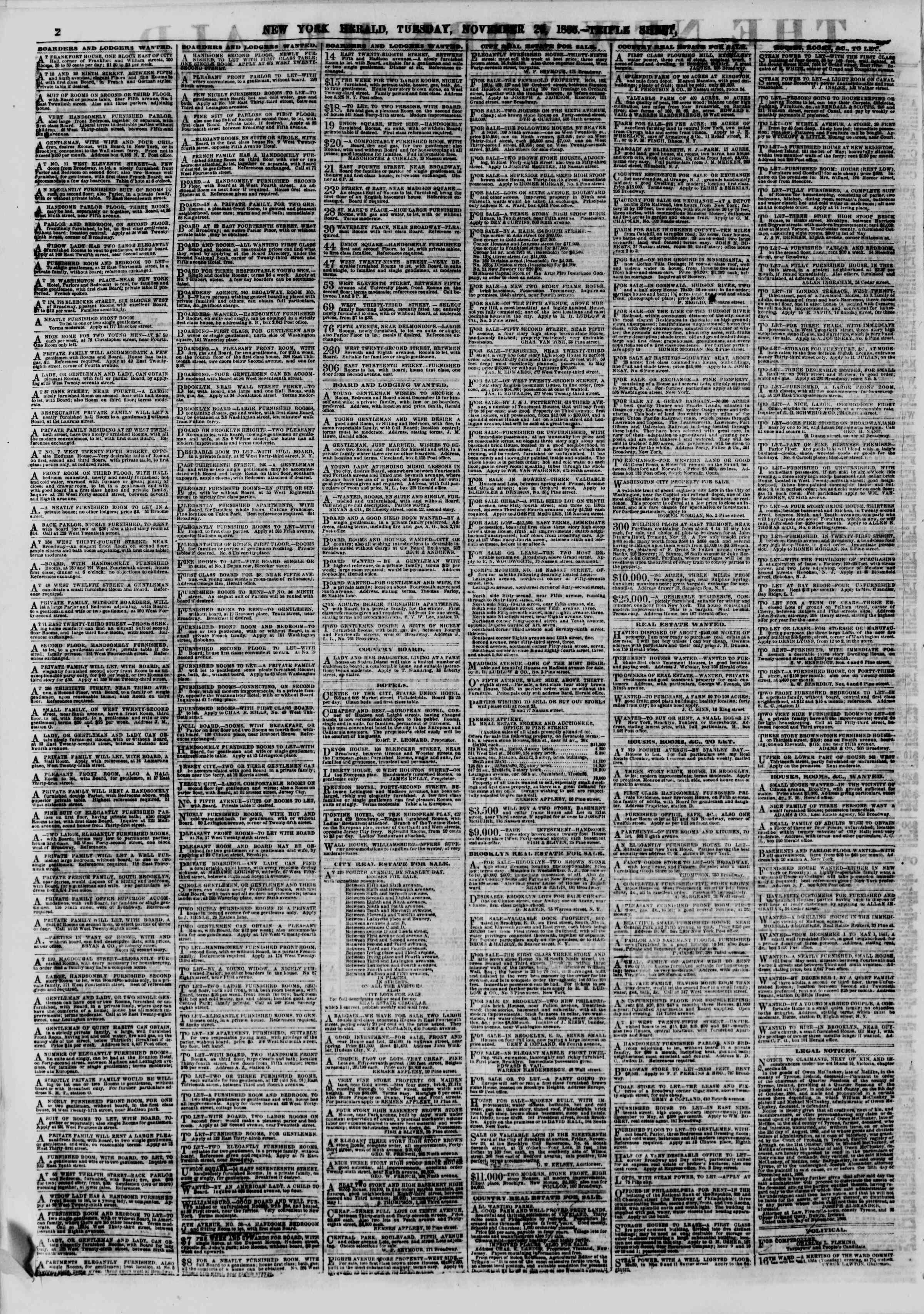 Newspaper of The New York Herald dated November 20, 1866 Page 2
