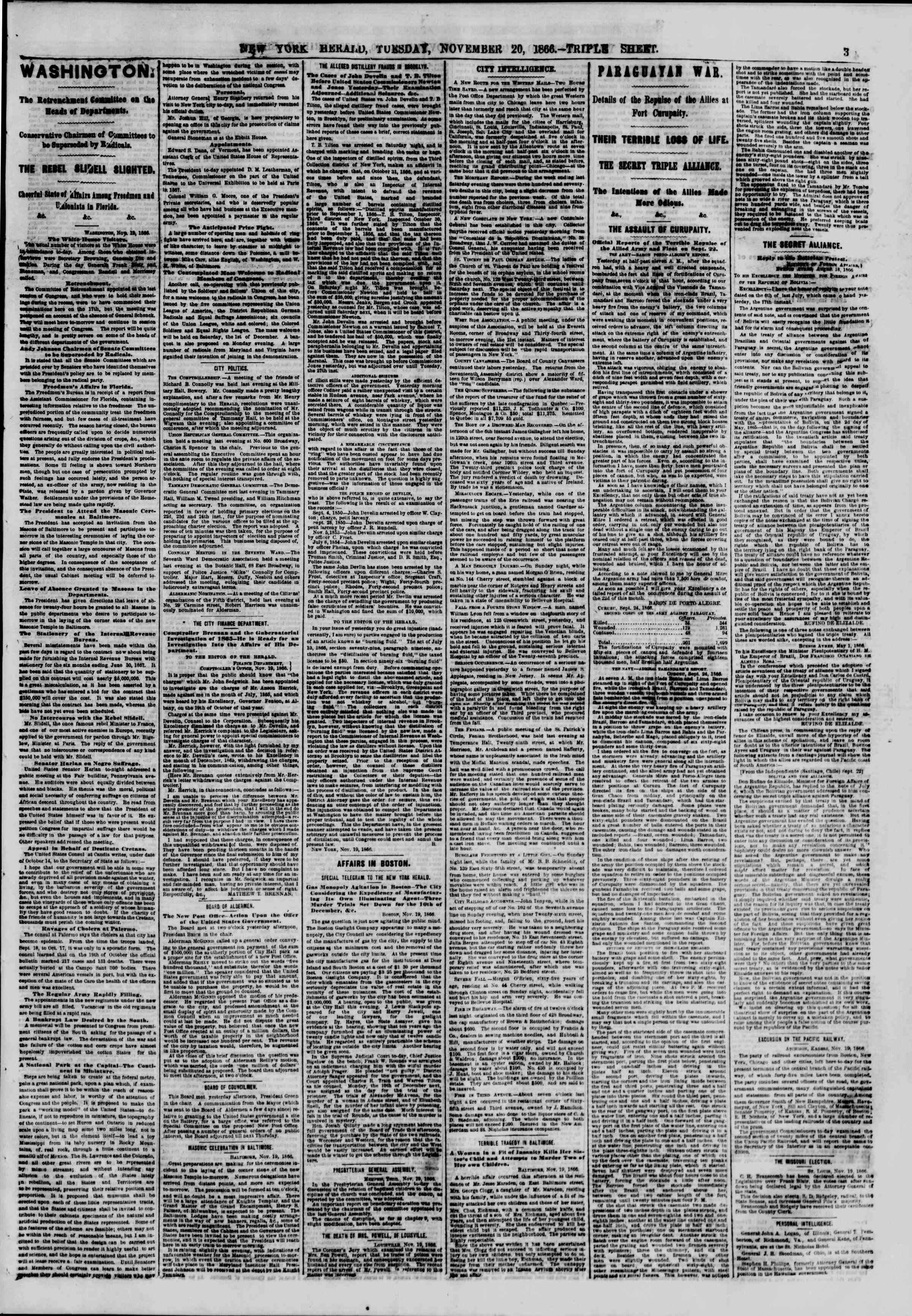 Newspaper of The New York Herald dated November 20, 1866 Page 3
