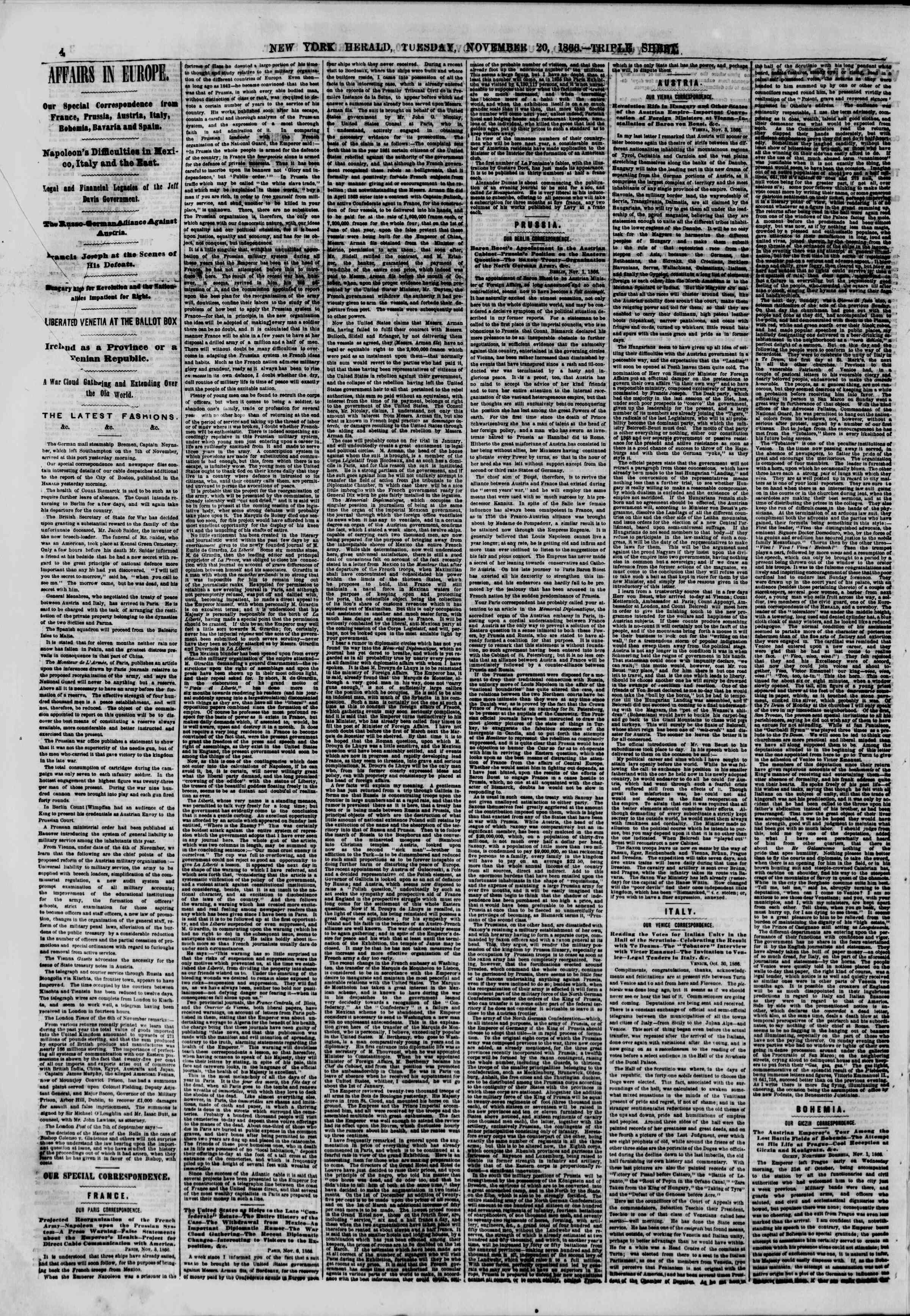 Newspaper of The New York Herald dated November 20, 1866 Page 4