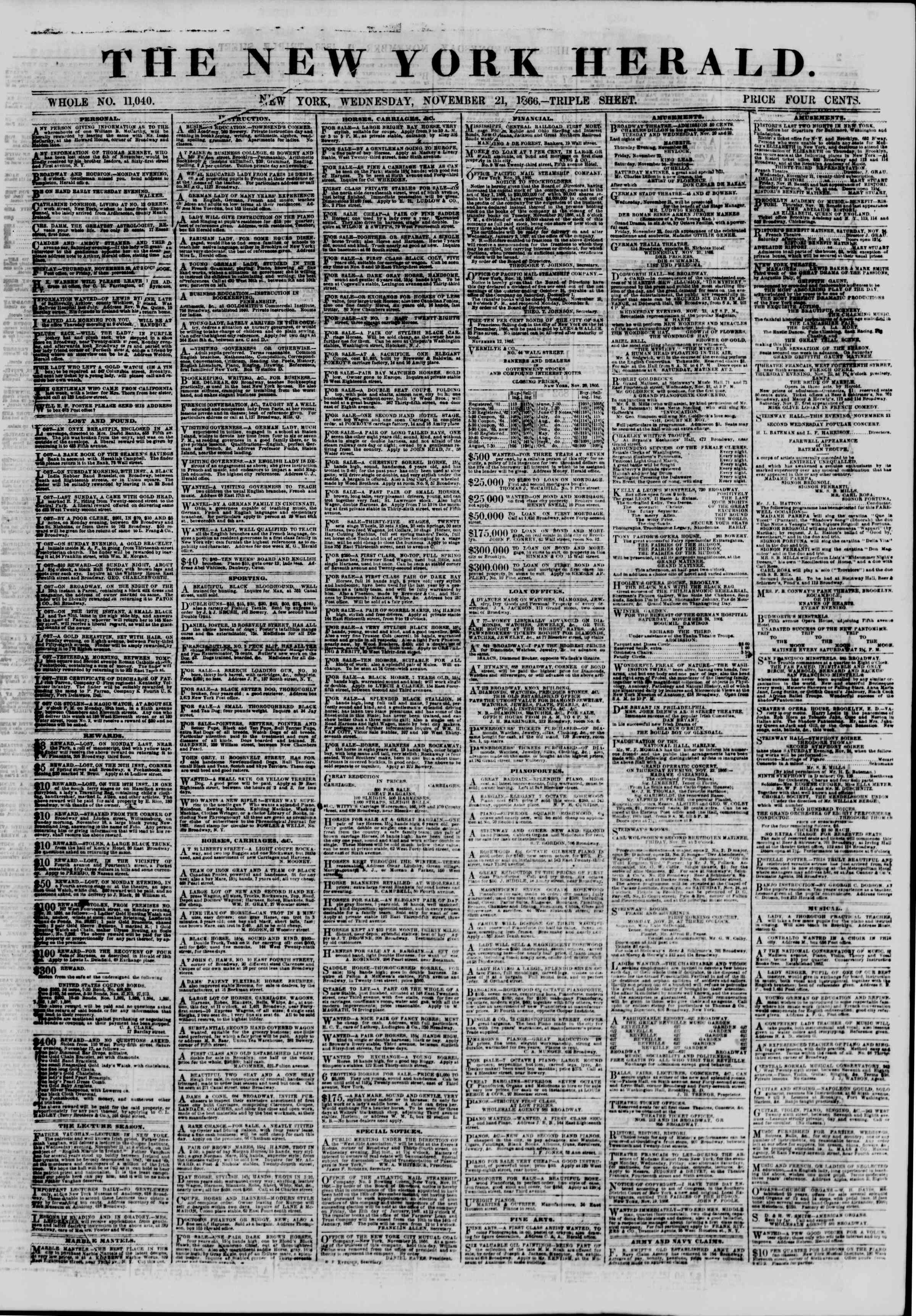 Newspaper of The New York Herald dated November 21, 1866 Page 1
