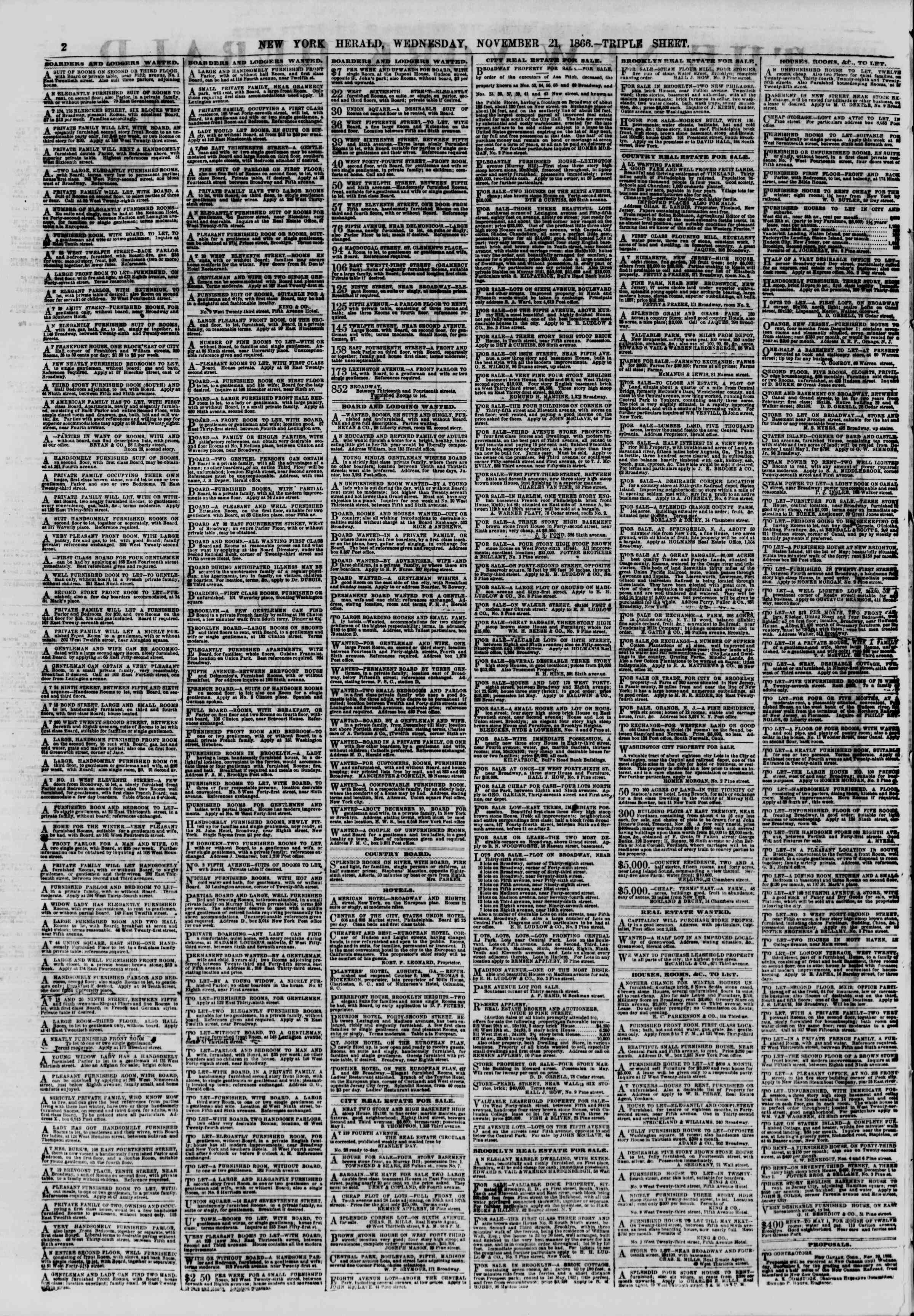 Newspaper of The New York Herald dated November 21, 1866 Page 2