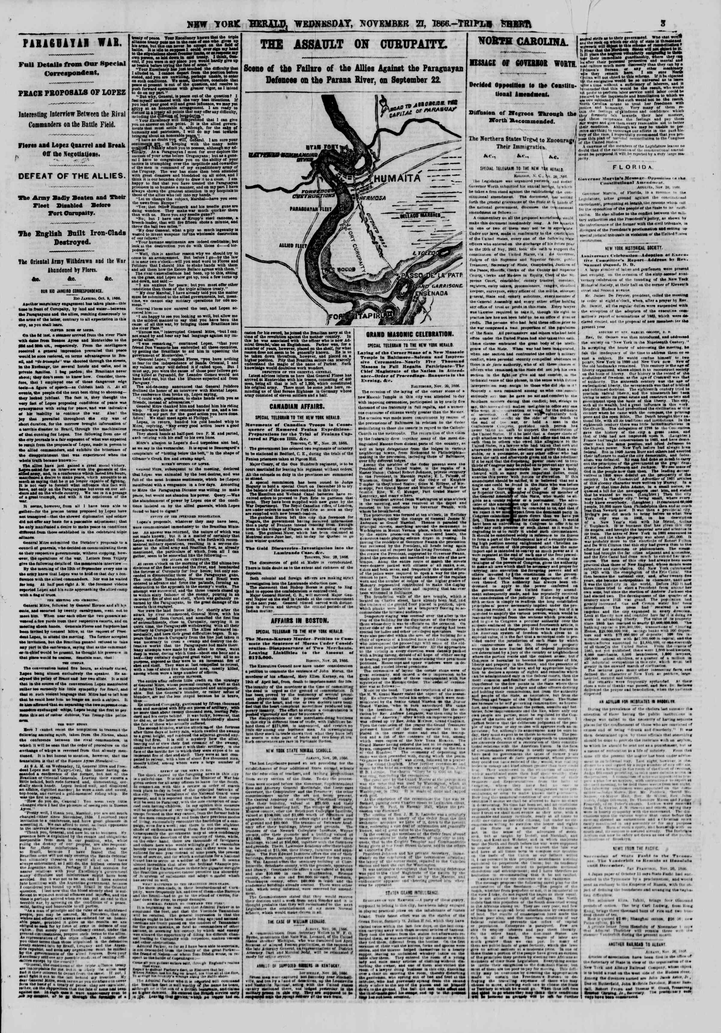 Newspaper of The New York Herald dated November 21, 1866 Page 3