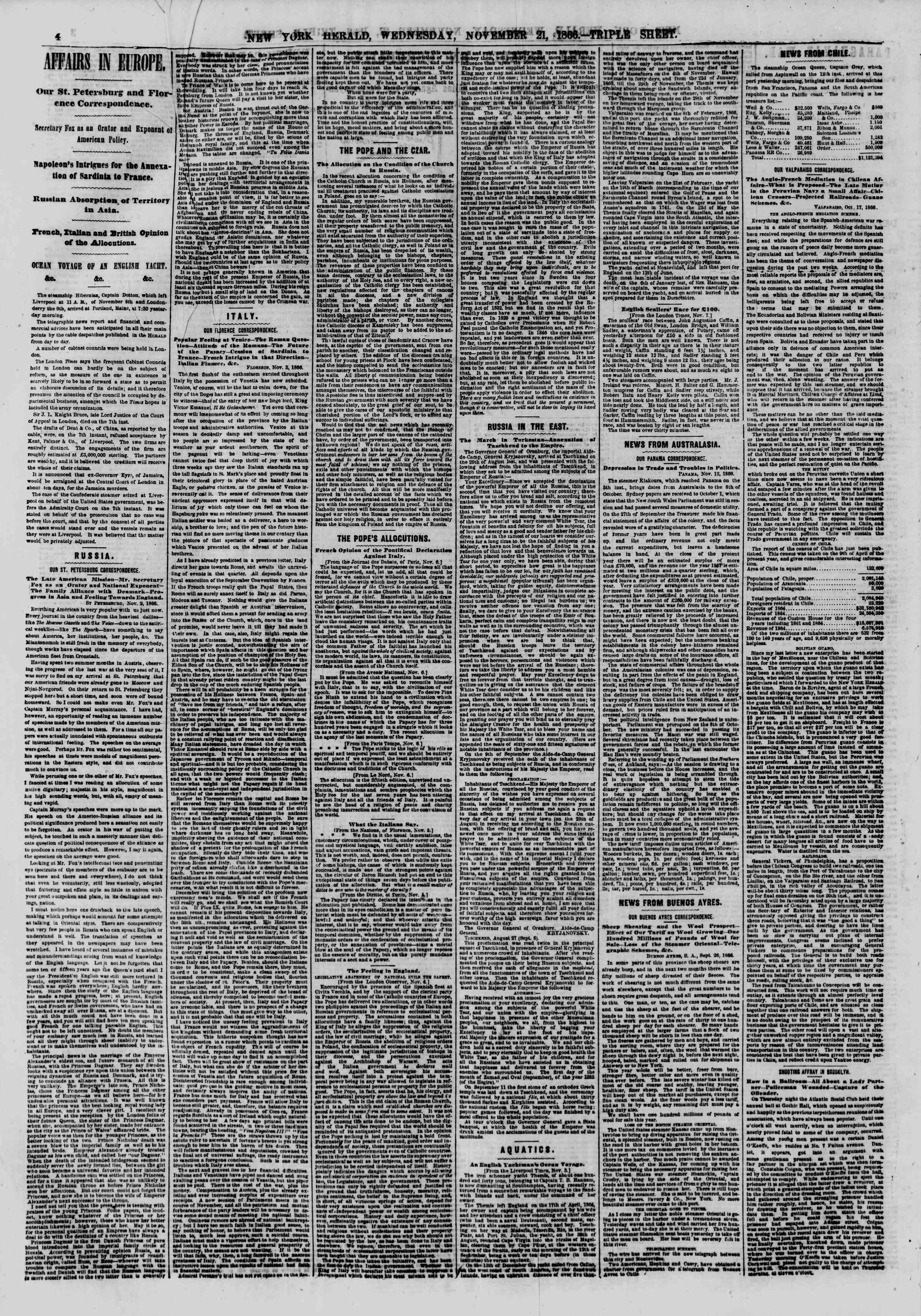 Newspaper of The New York Herald dated November 21, 1866 Page 4