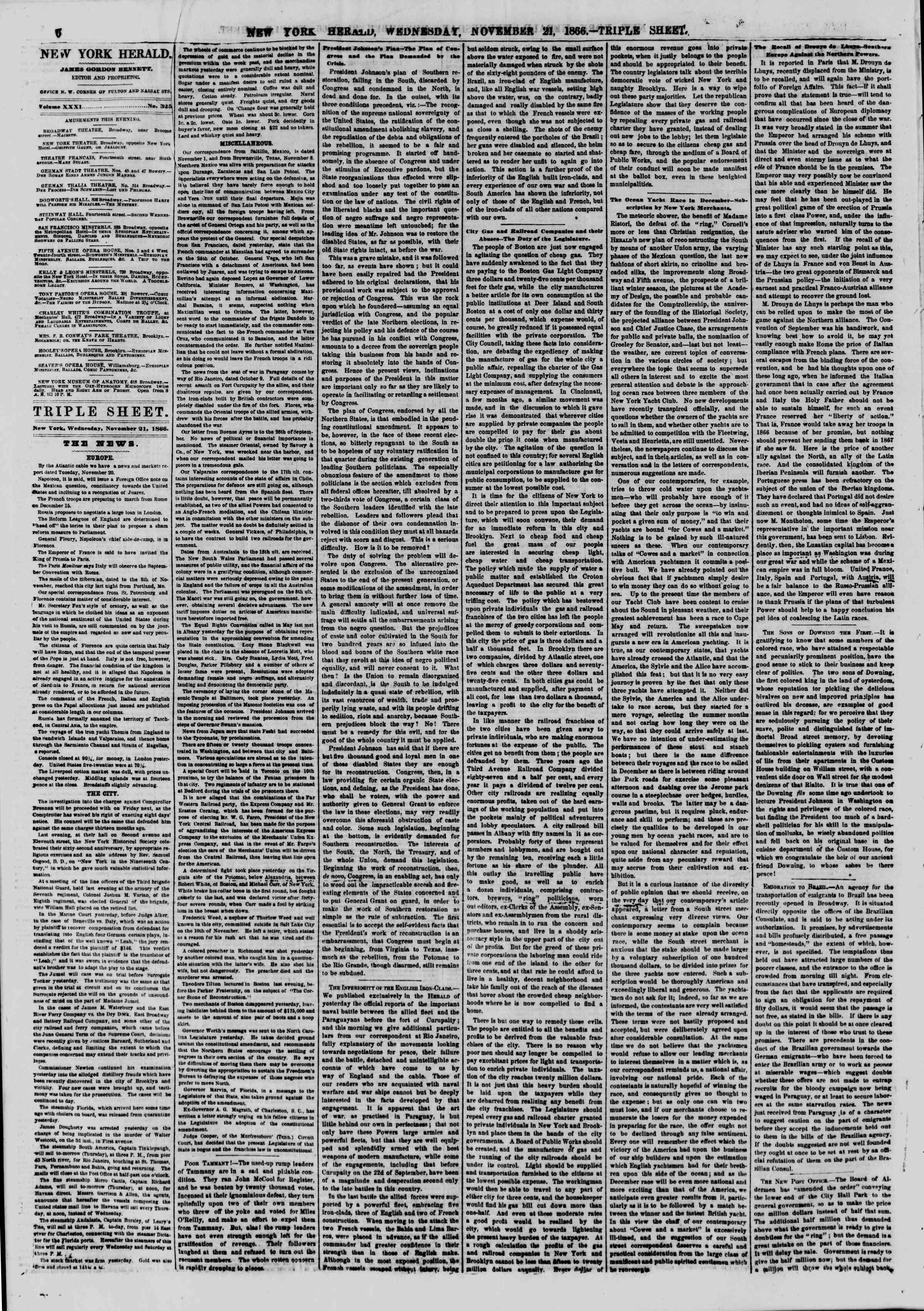 Newspaper of The New York Herald dated November 21, 1866 Page 6