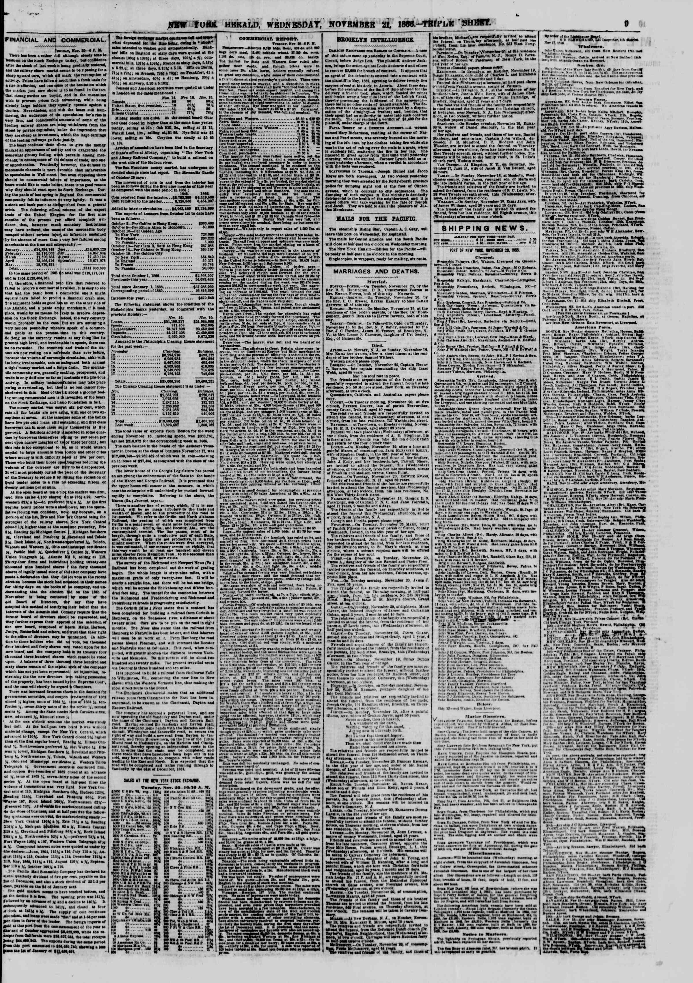 Newspaper of The New York Herald dated November 21, 1866 Page 9