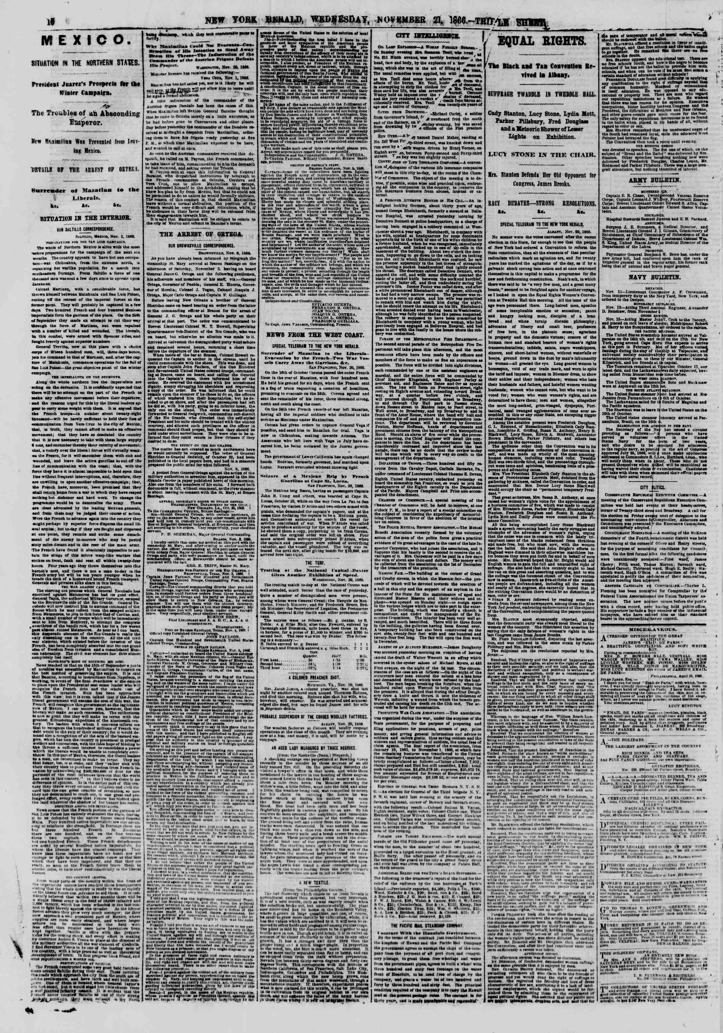 Newspaper of The New York Herald dated November 21, 1866 Page 10