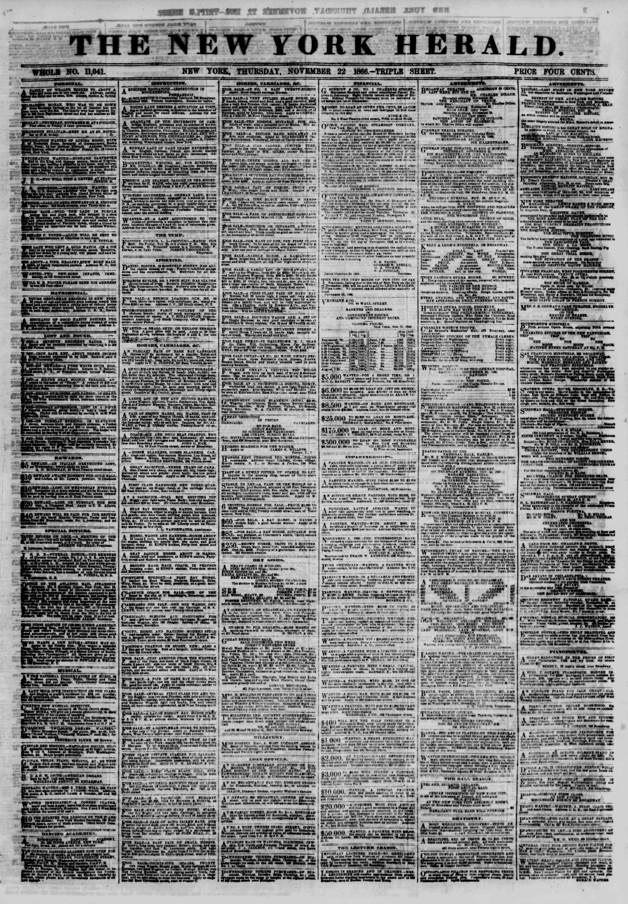 Newspaper of The New York Herald dated November 22, 1866 Page 1