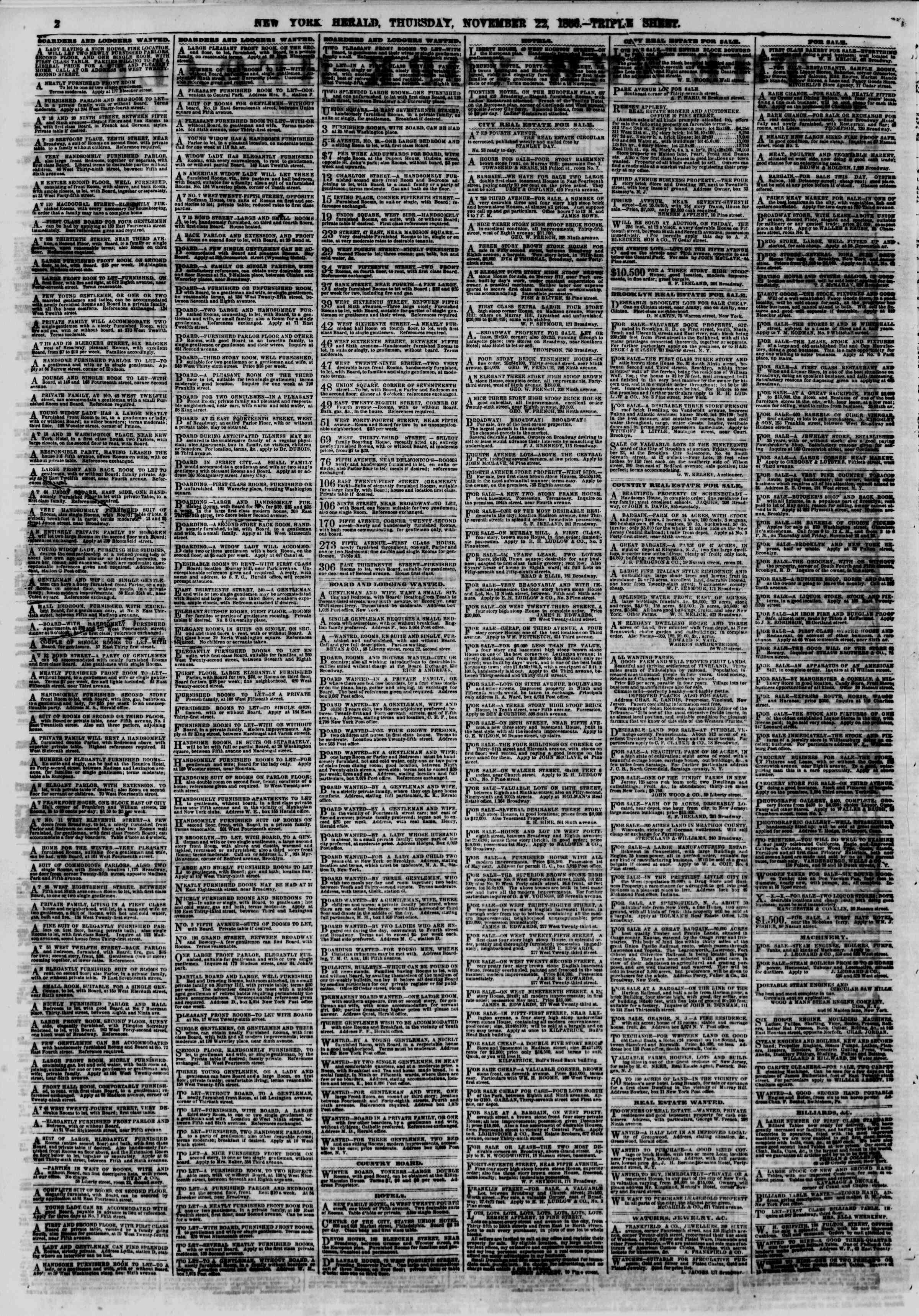 Newspaper of The New York Herald dated November 22, 1866 Page 2
