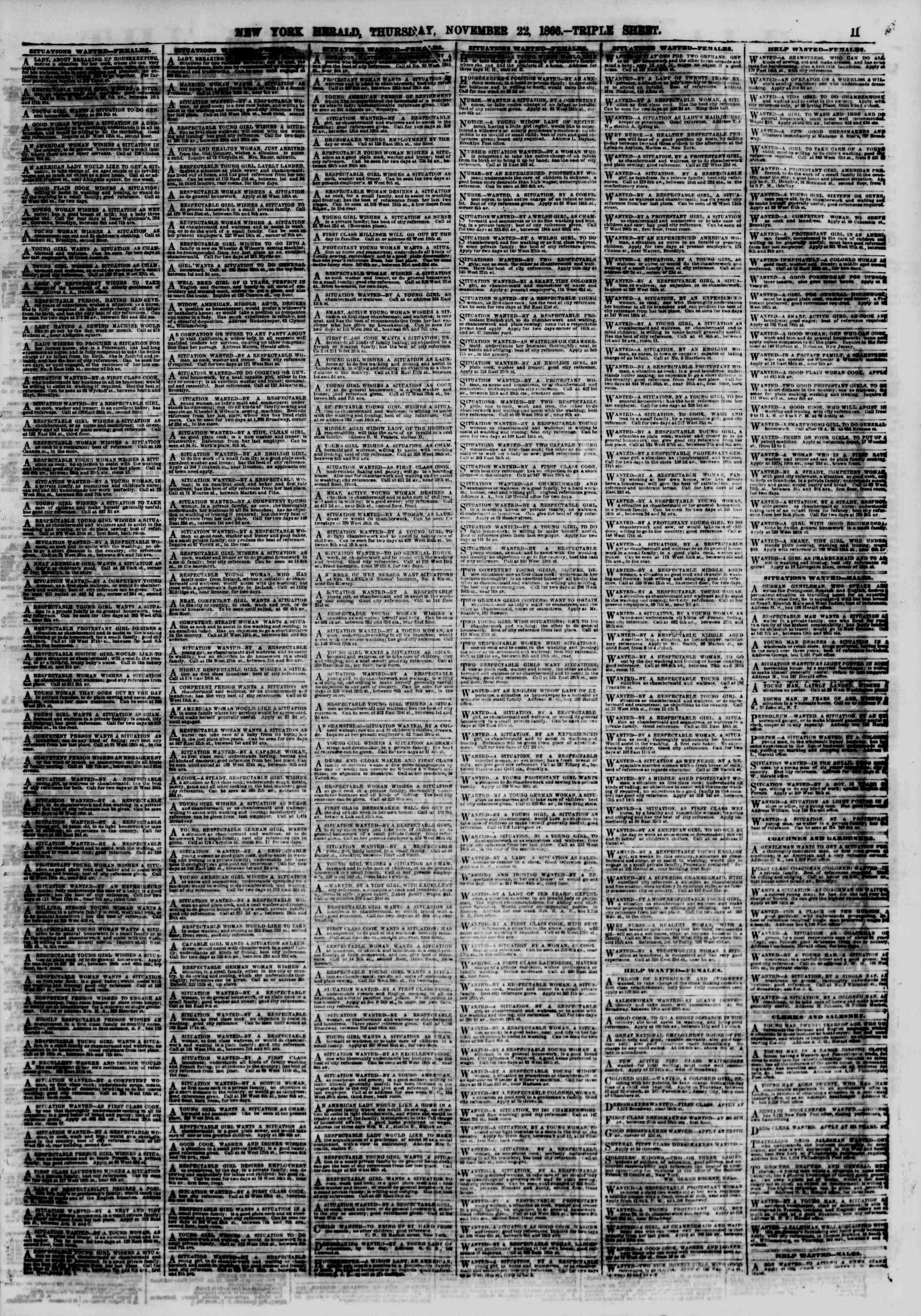 Newspaper of The New York Herald dated 22 Kasım 1866 Page 11