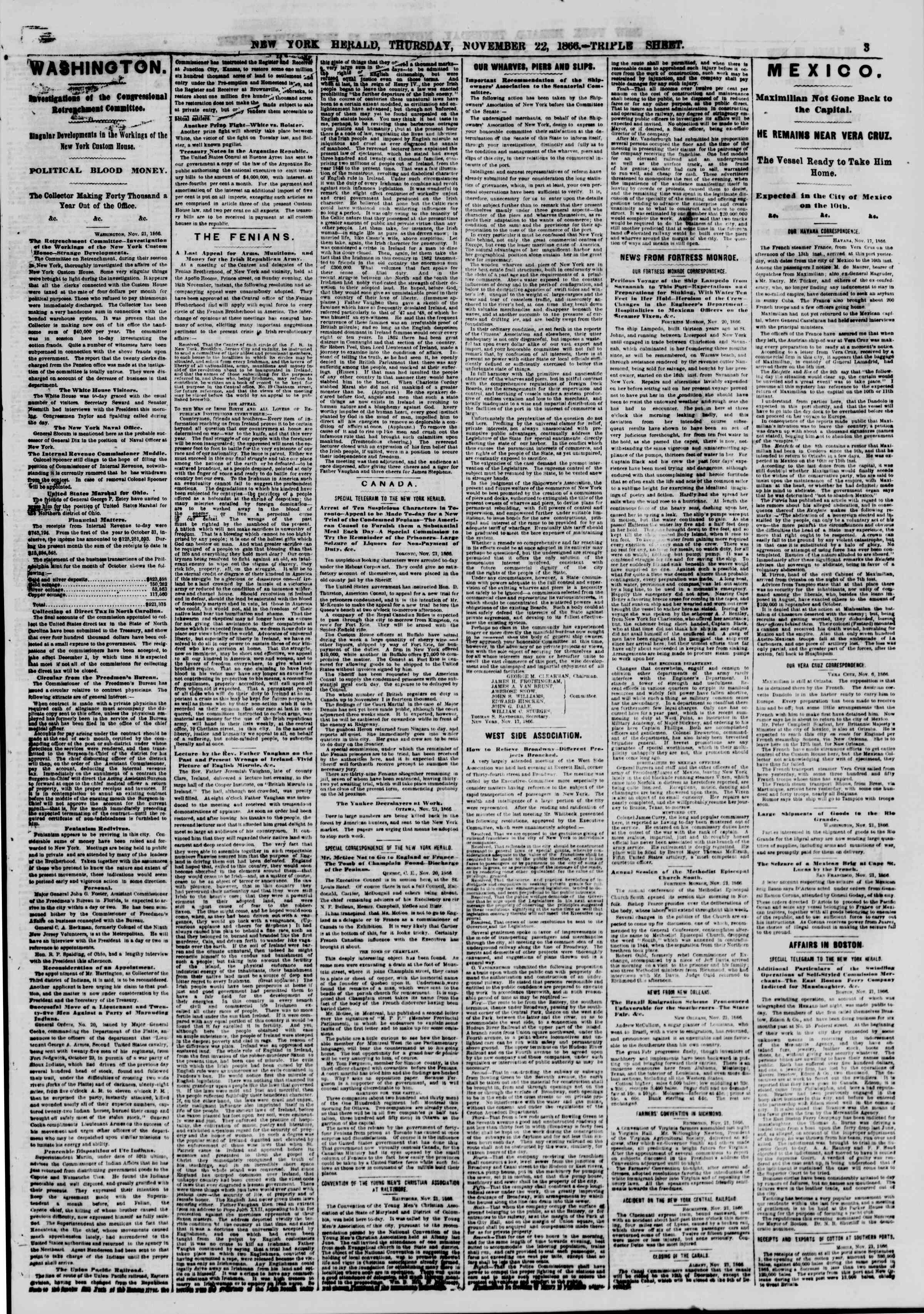 Newspaper of The New York Herald dated November 22, 1866 Page 3