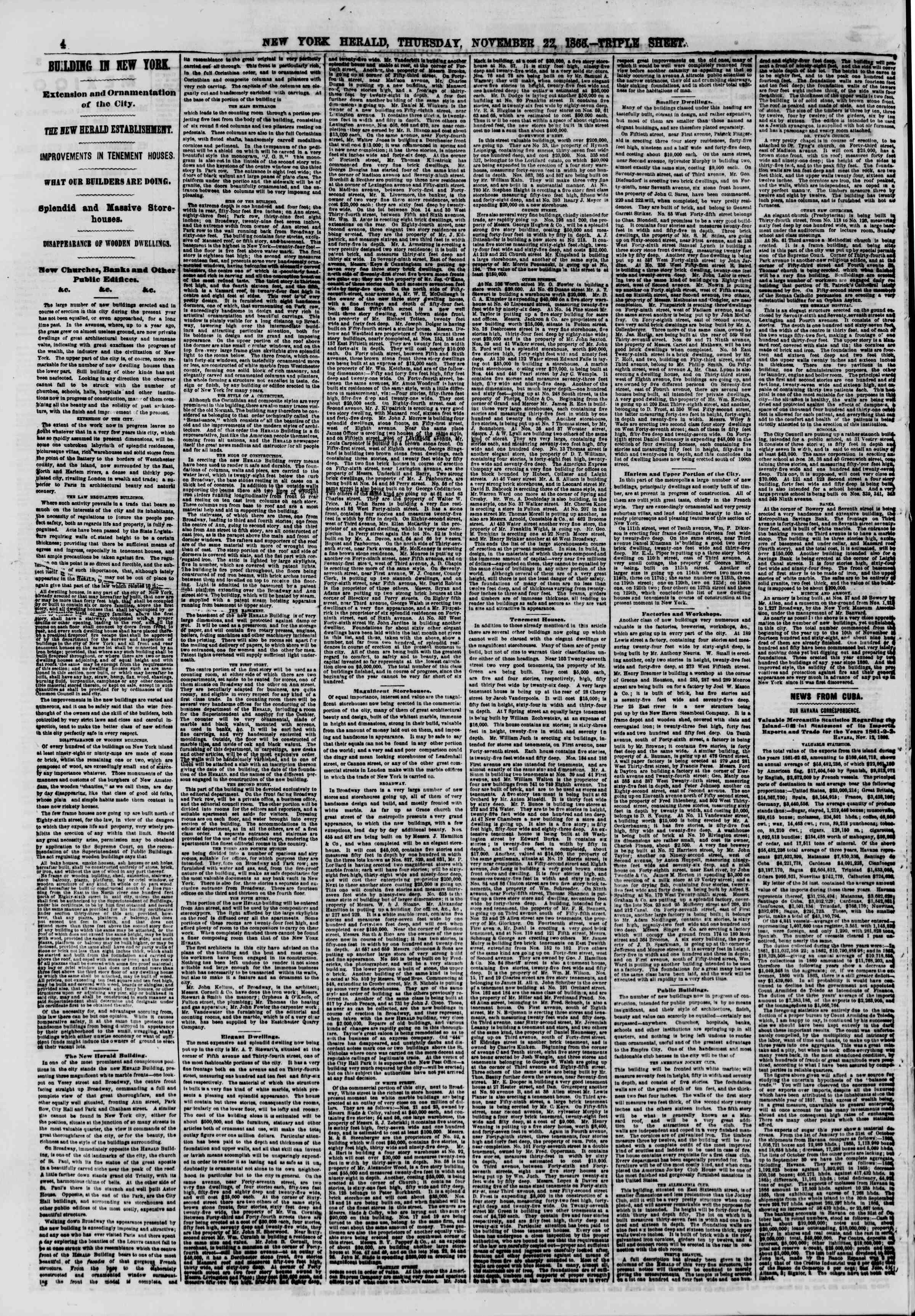 Newspaper of The New York Herald dated November 22, 1866 Page 4