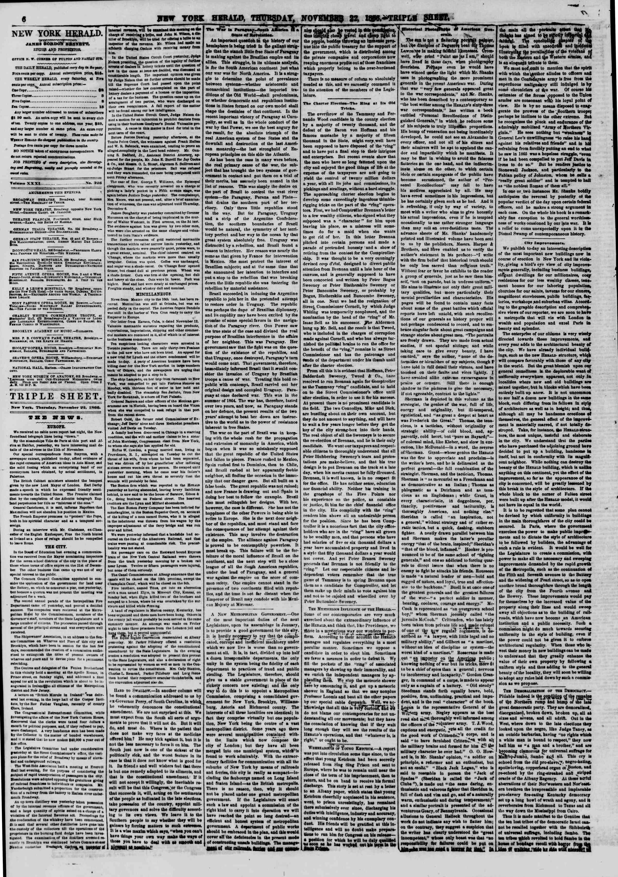 Newspaper of The New York Herald dated November 22, 1866 Page 6