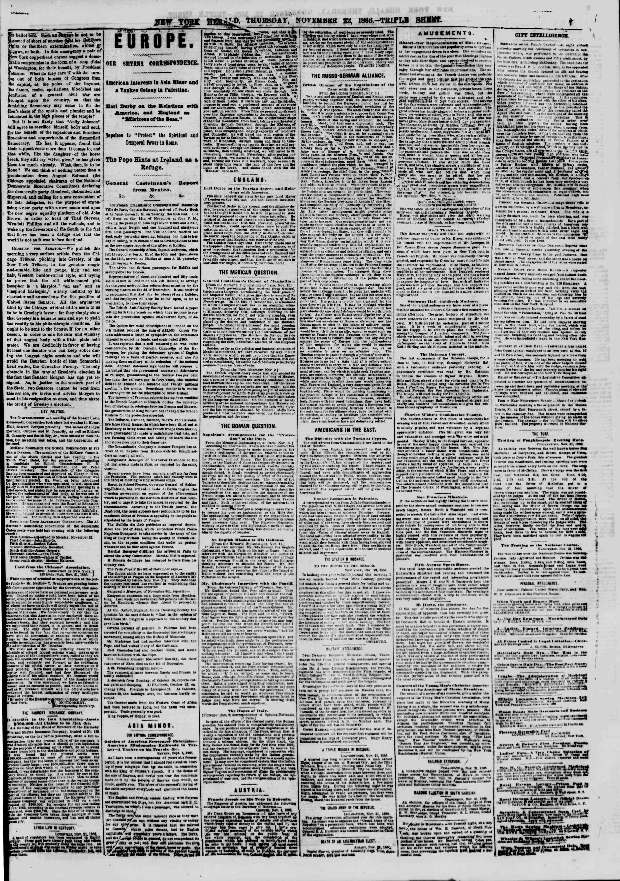 Newspaper of The New York Herald dated November 22, 1866 Page 7