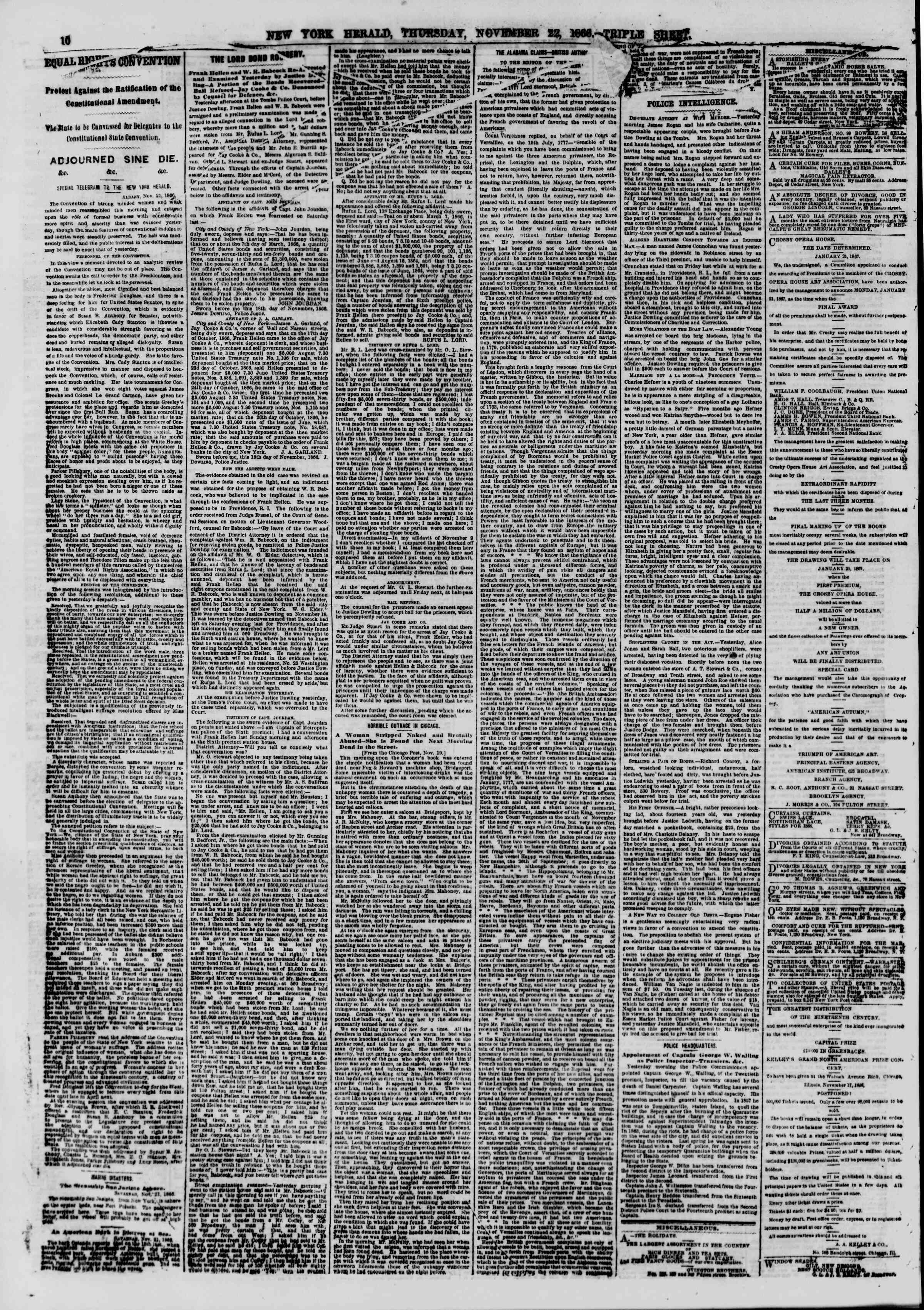 Newspaper of The New York Herald dated November 22, 1866 Page 10