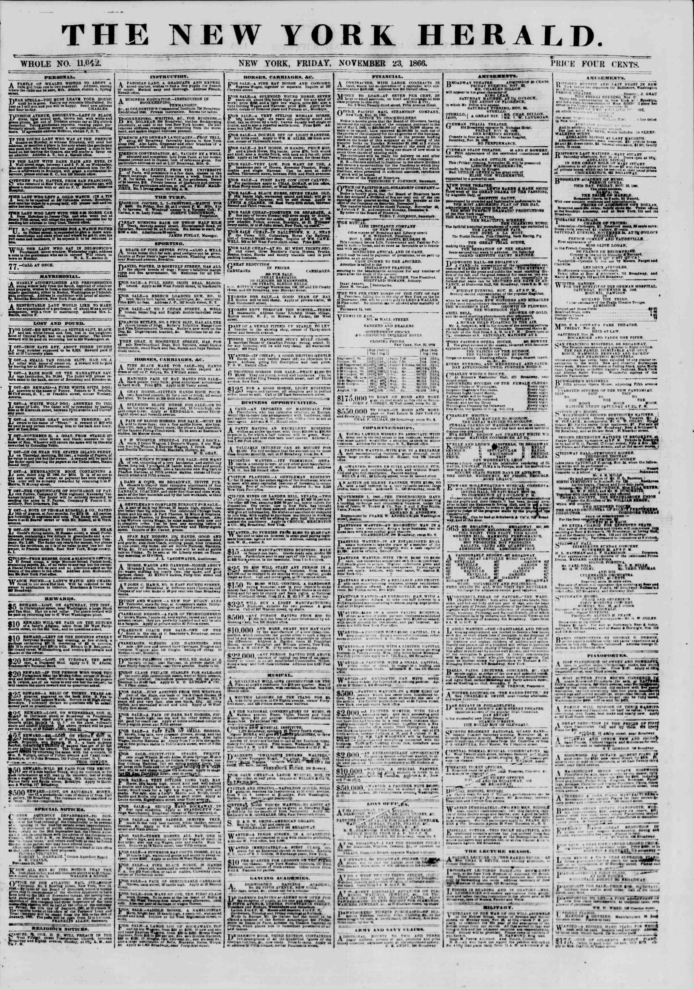 Newspaper of The New York Herald dated November 23, 1866 Page 1