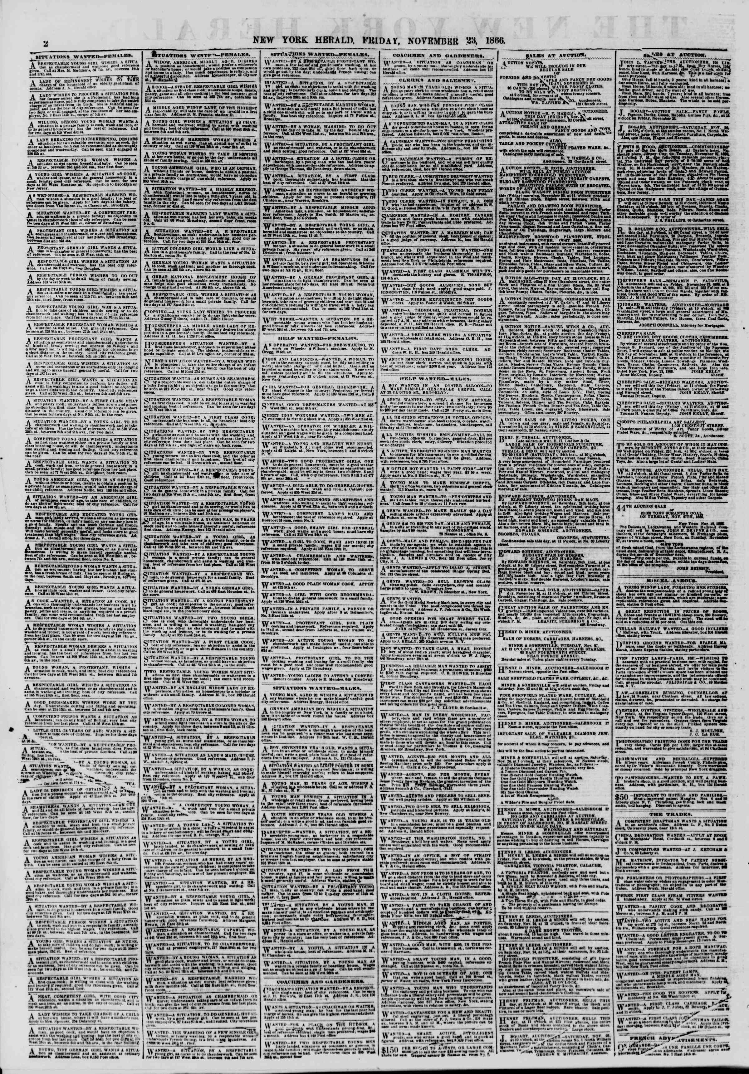 Newspaper of The New York Herald dated November 23, 1866 Page 2