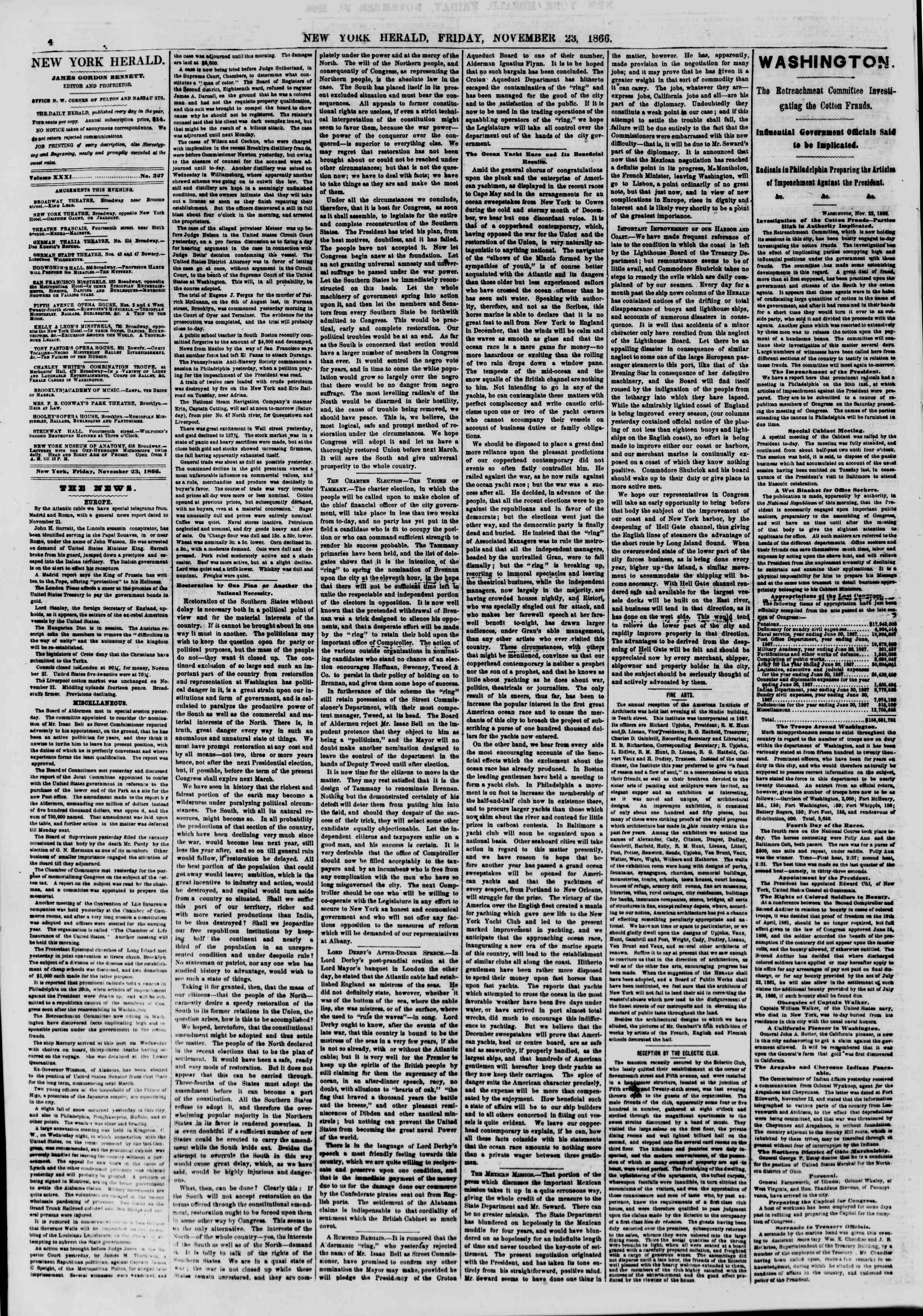 Newspaper of The New York Herald dated November 23, 1866 Page 4