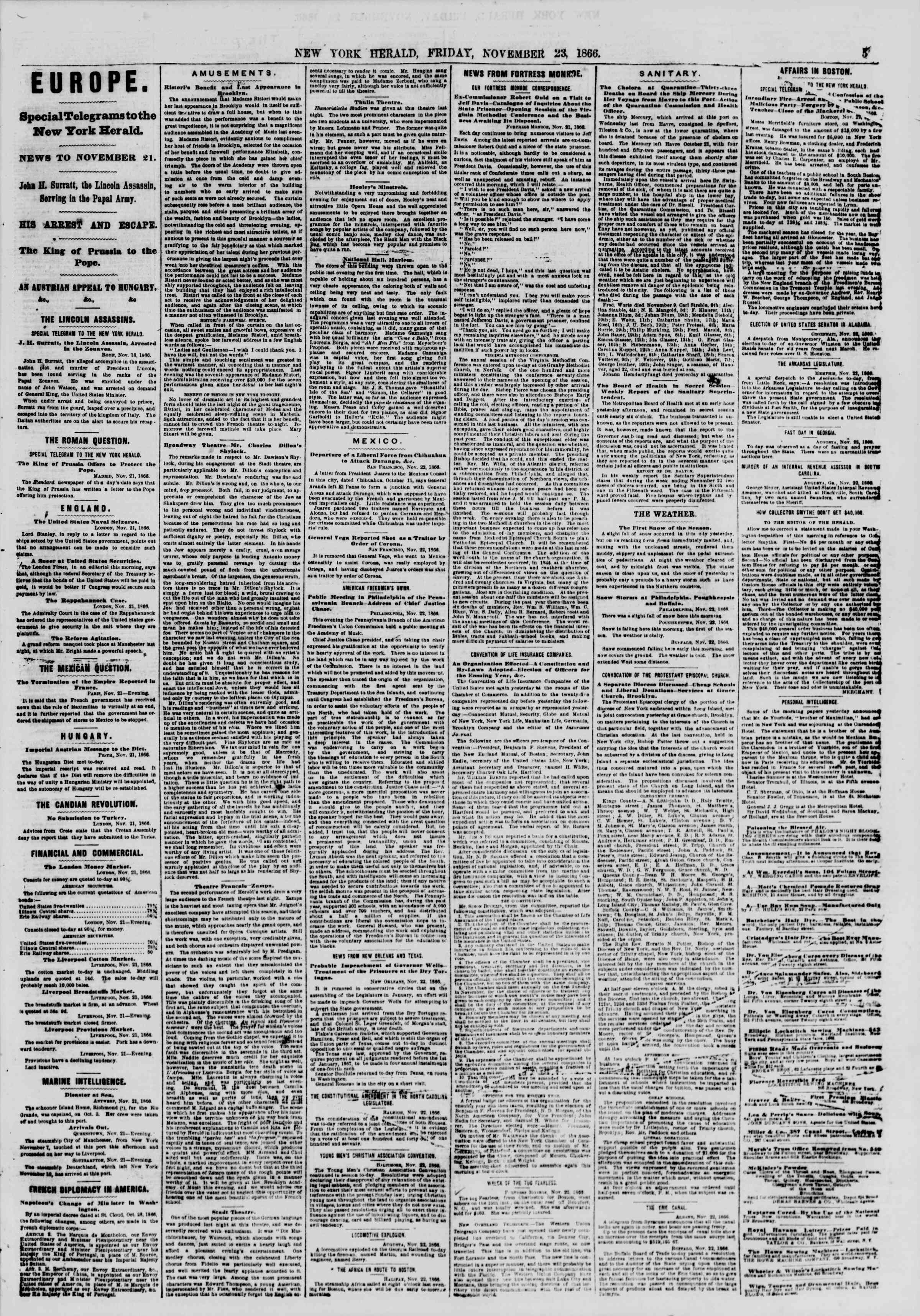 Newspaper of The New York Herald dated November 23, 1866 Page 5