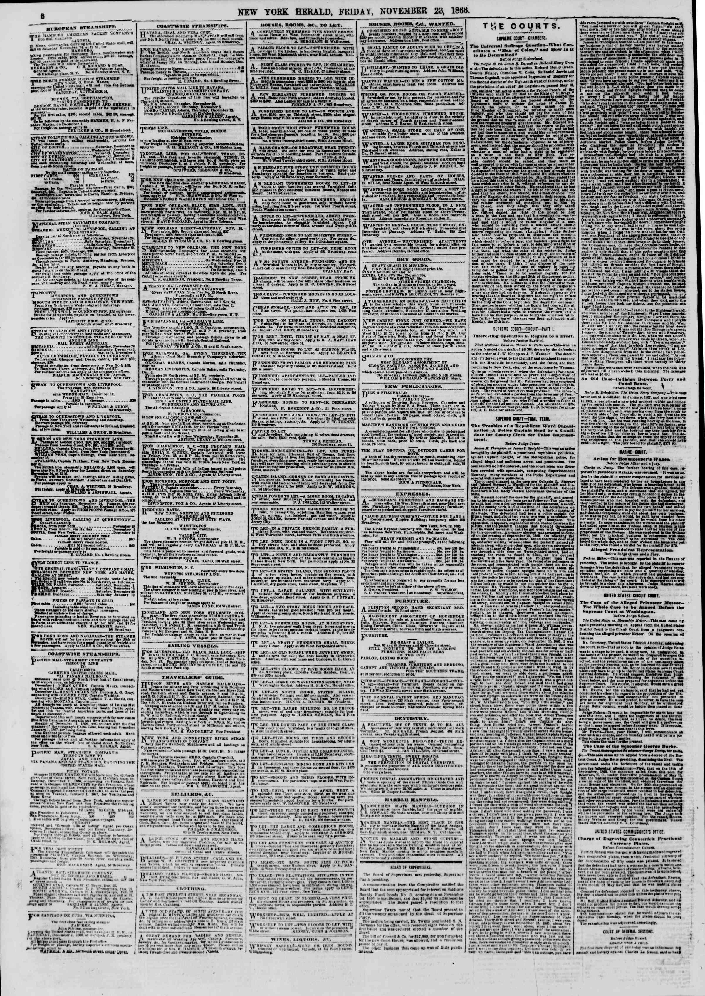 Newspaper of The New York Herald dated November 23, 1866 Page 6