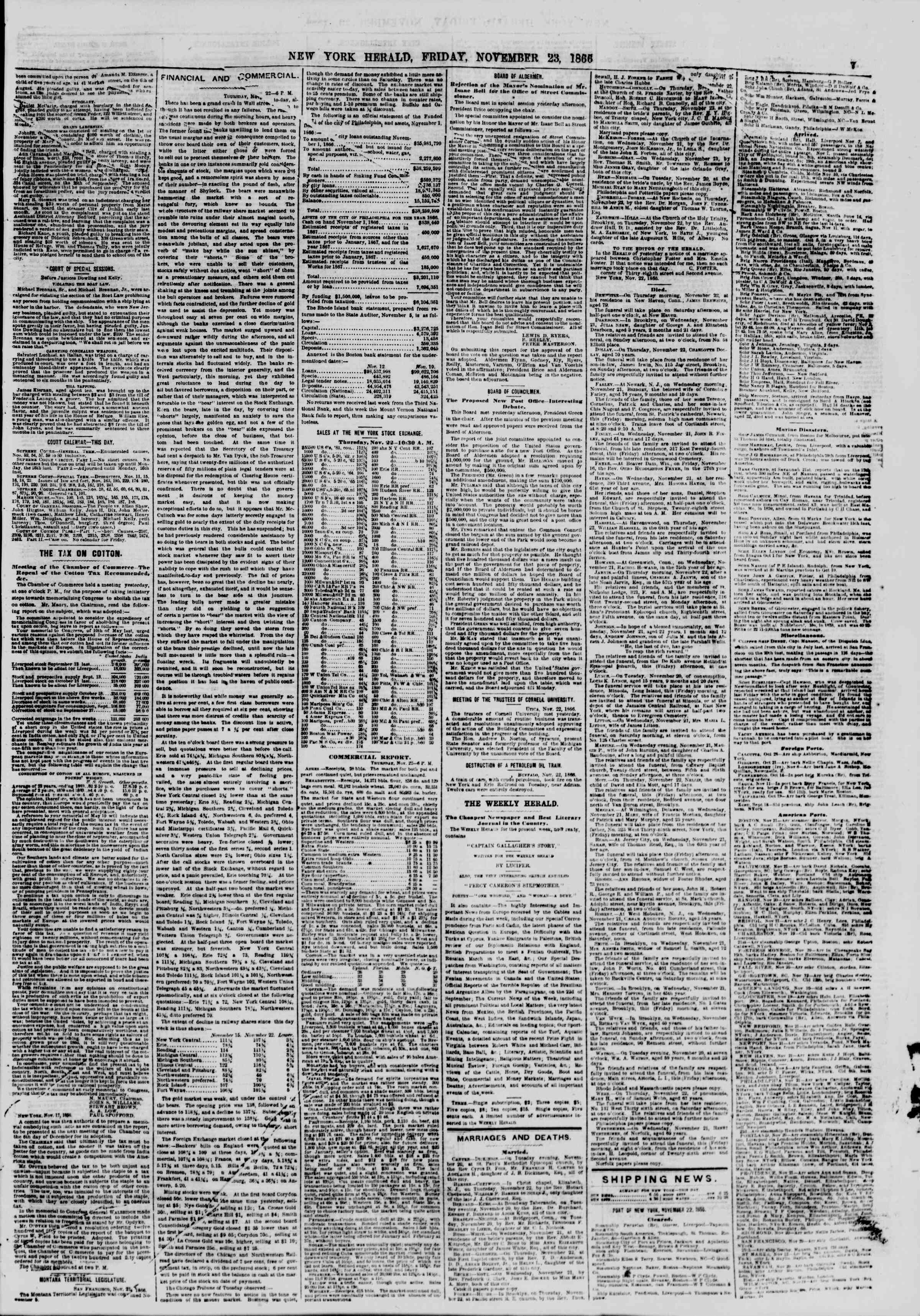 Newspaper of The New York Herald dated November 23, 1866 Page 7