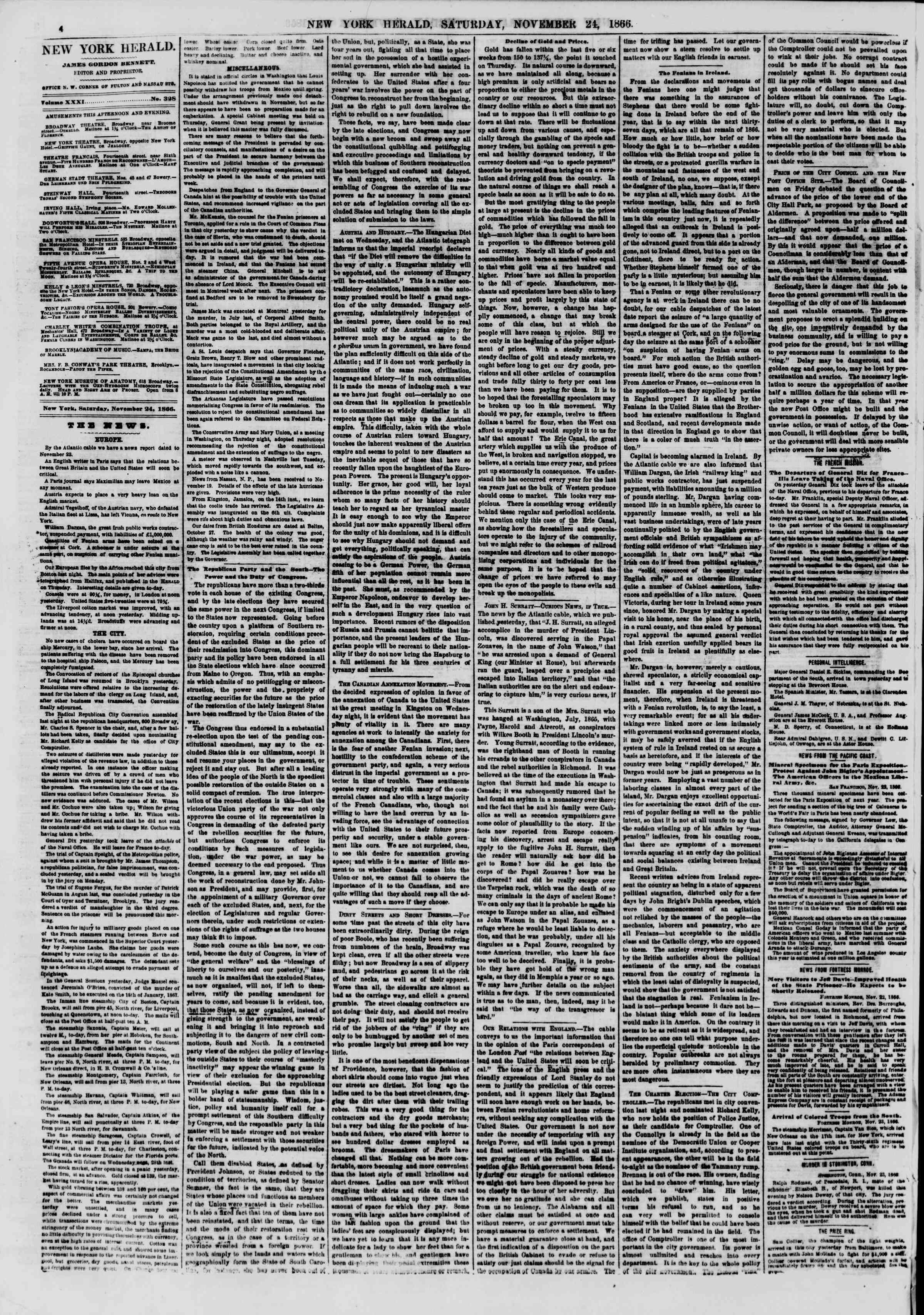 Newspaper of The New York Herald dated November 24, 1866 Page 4
