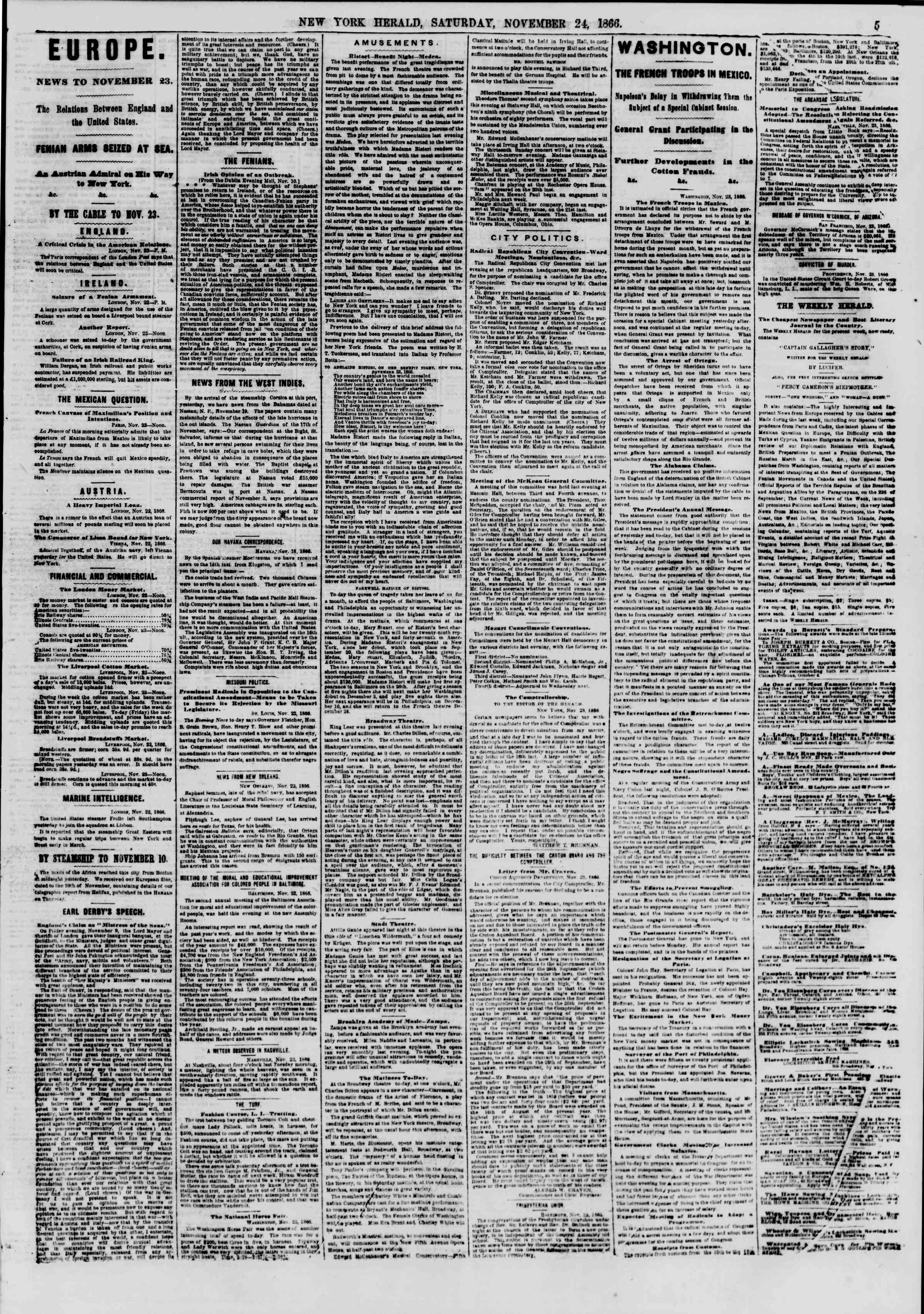 Newspaper of The New York Herald dated November 24, 1866 Page 5